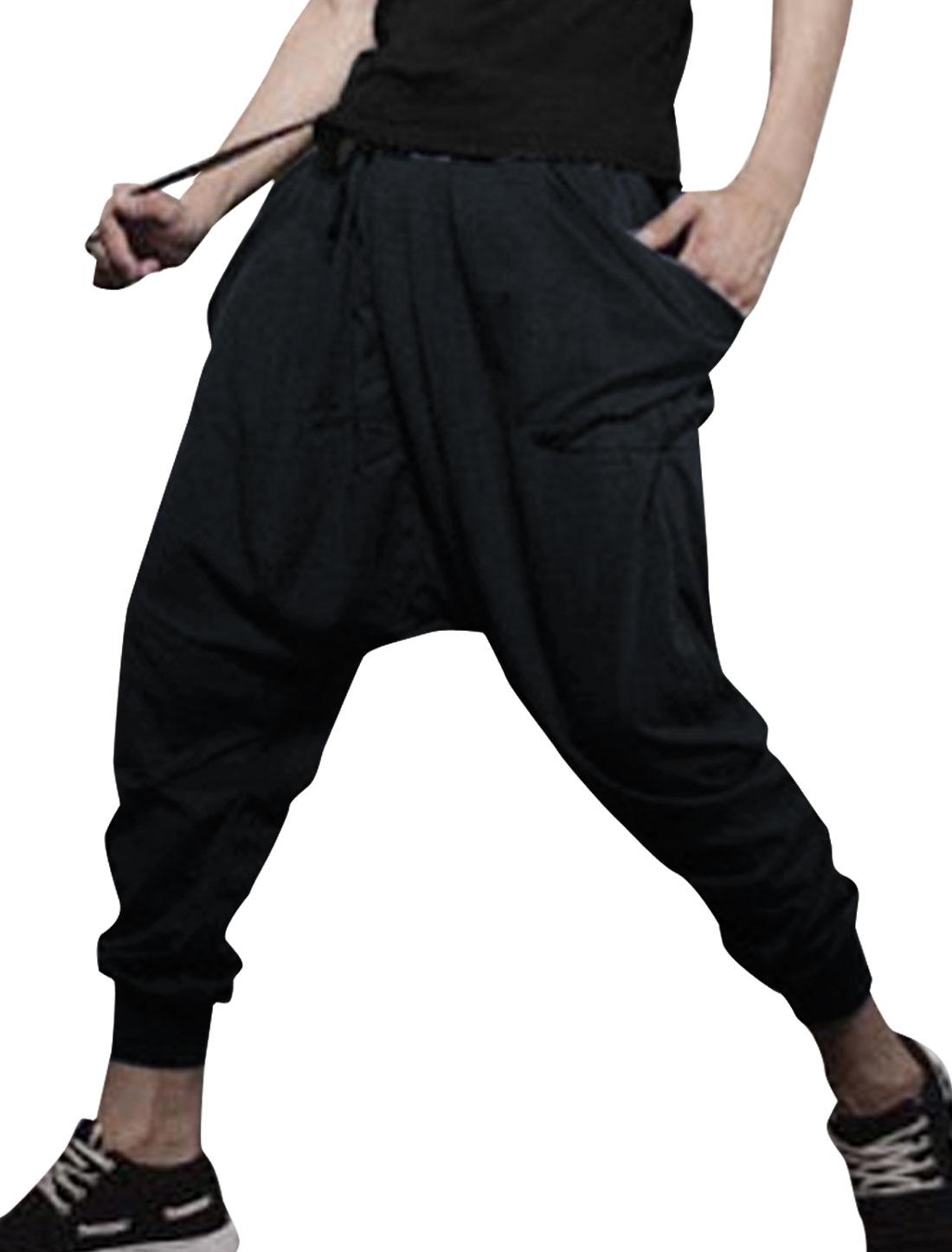Man Hip Pockets Harem Elastic Waist Fashion Trousers Dark Blue W29
