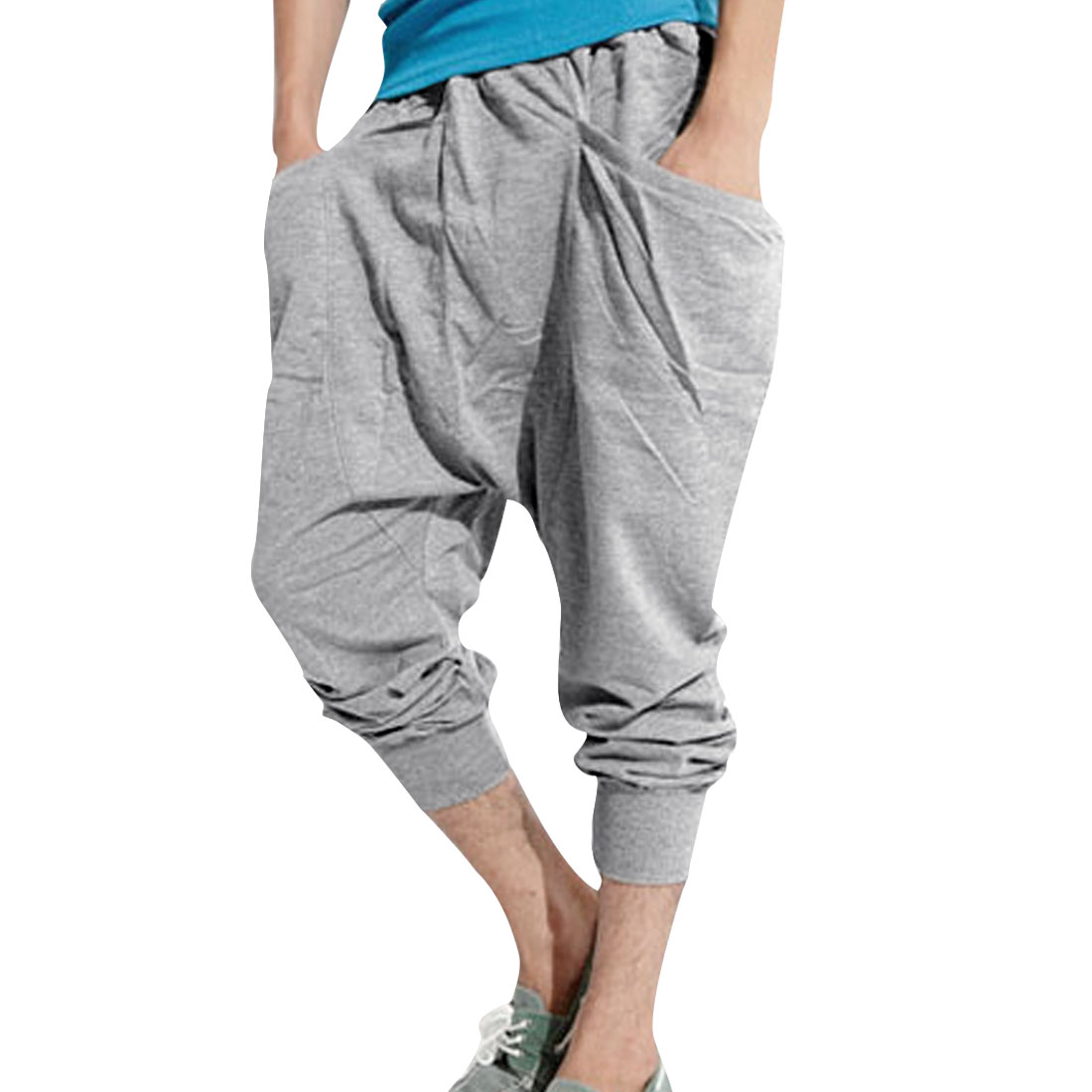 Man Stylish Slant Big Pockets Casual Cropped Trousers Light Gray W29