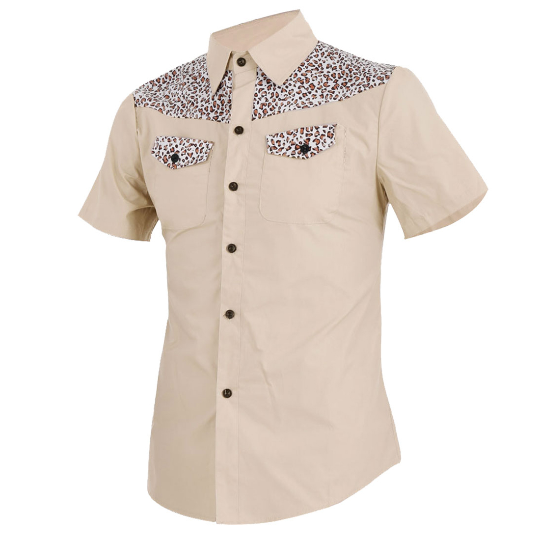 Men Short Sleeve Point Collar Leopard Prints Splice Front Khaki Shirt M