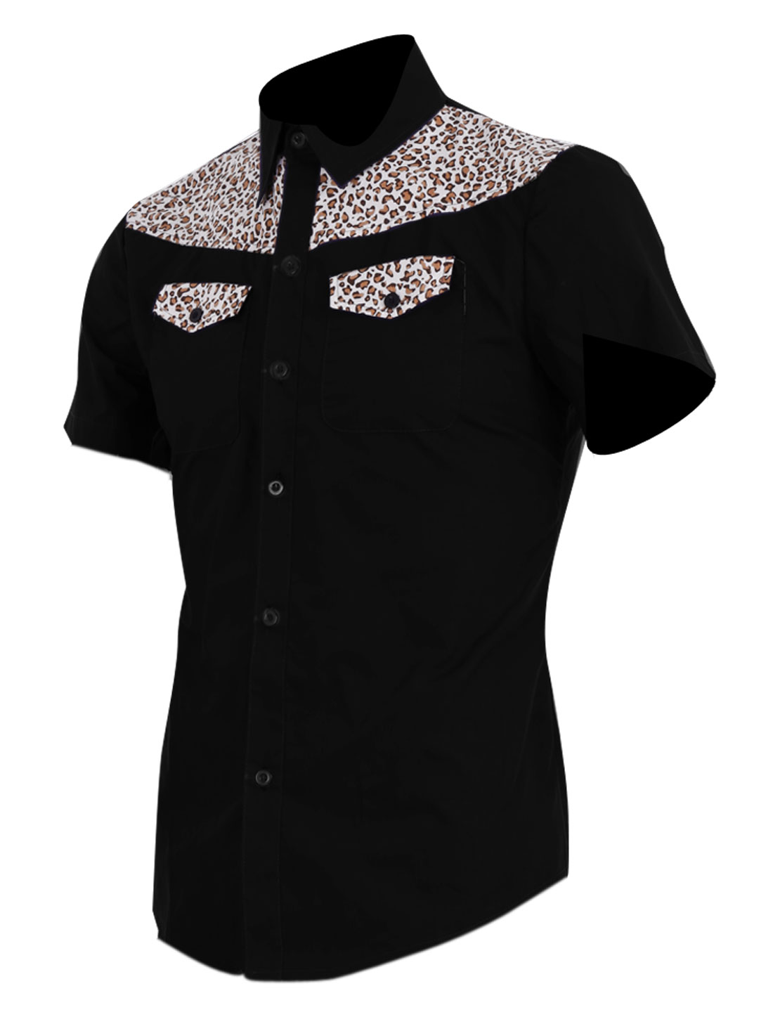 Men Leopard Prints Splice Decor Front Point Collar Shirt Black M