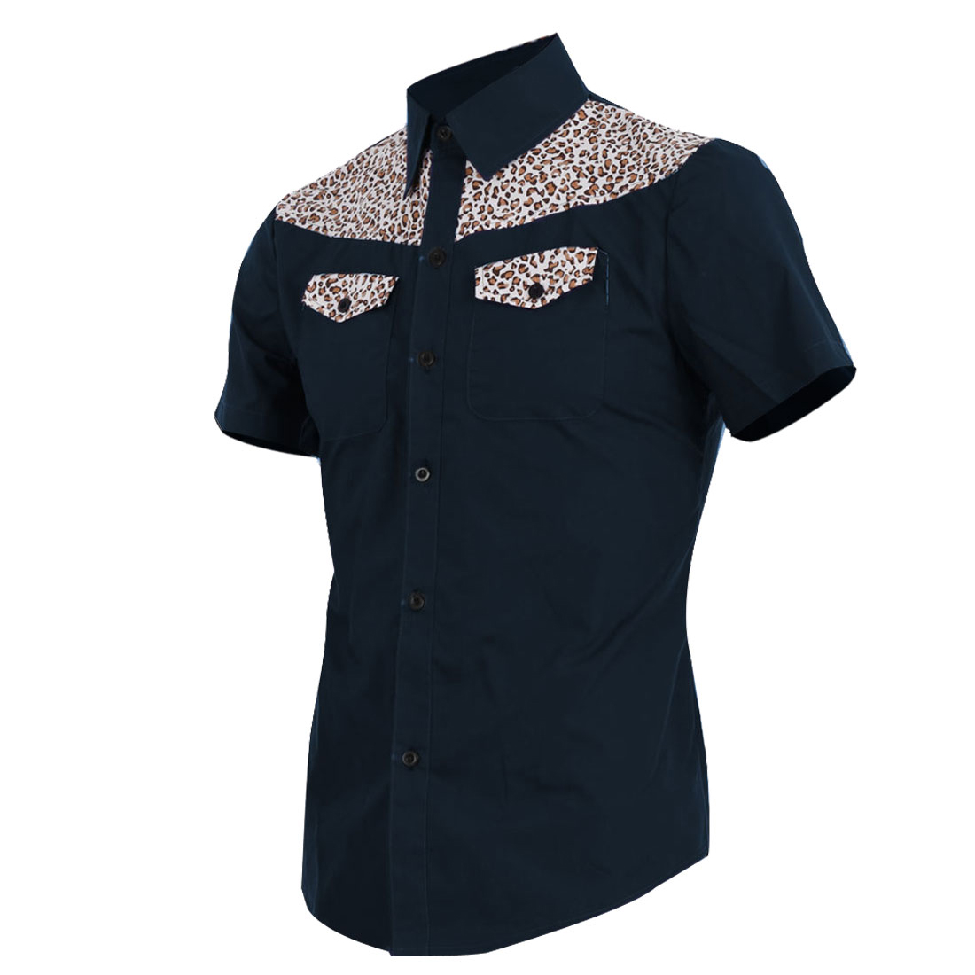 Men Button Up Chest Pockets Leopard Pattern Splice Navy Blue Short Sleeve Shirt M