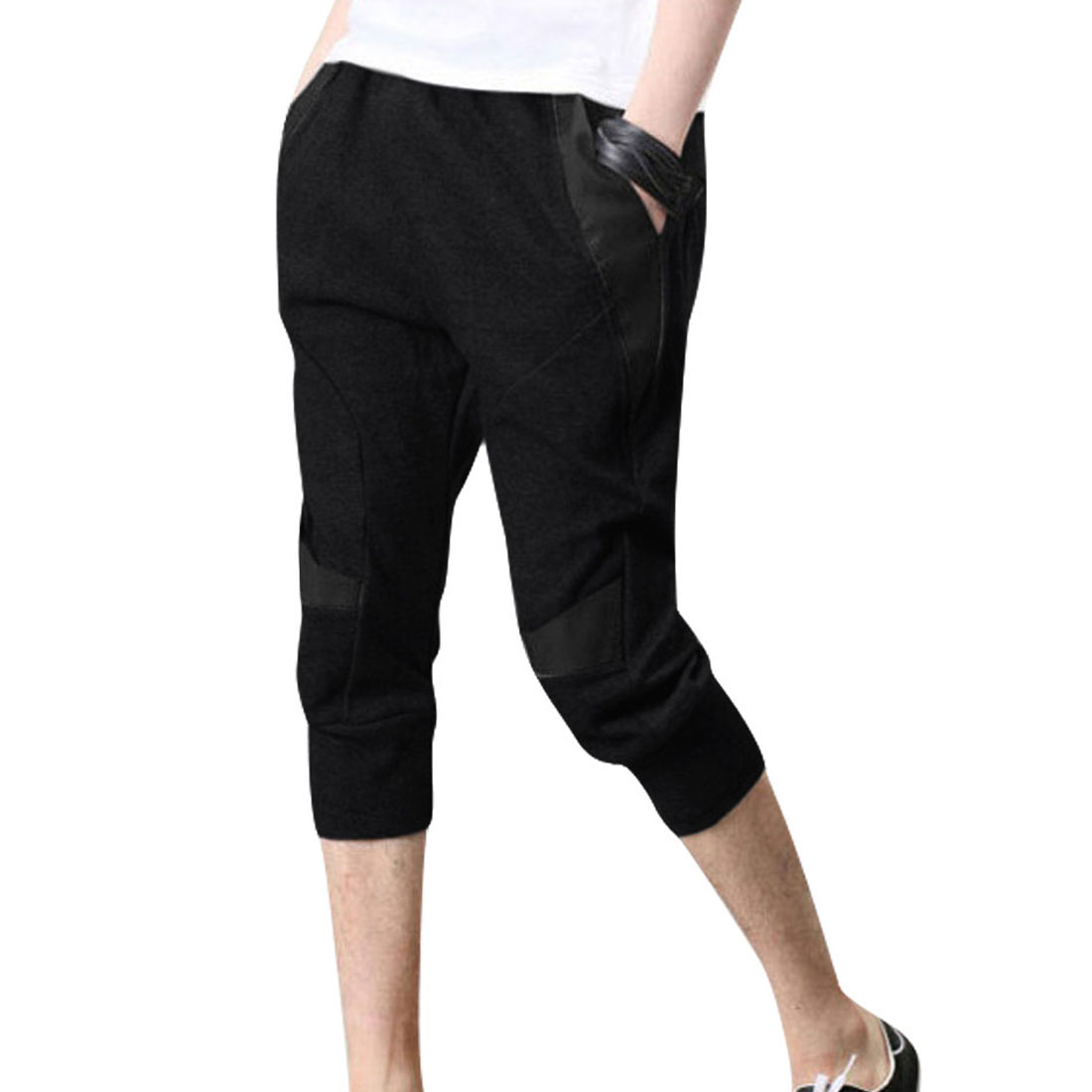 Men Drawstring Waist Splice Capris Pants Black W30
