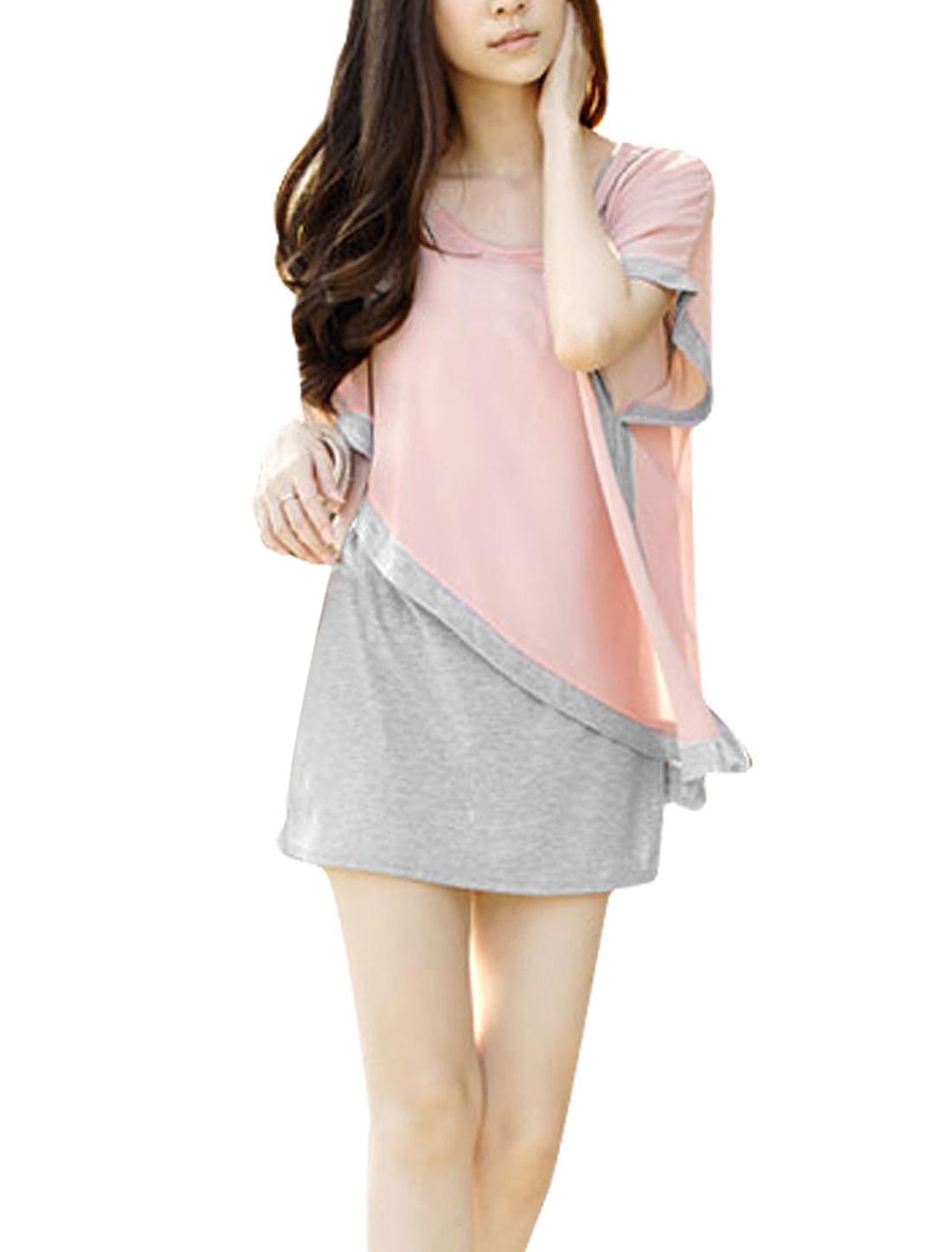 Woman Gray Pink Handkerchief Hem Leisure Faux 2 Piece Tunic Blouse XS