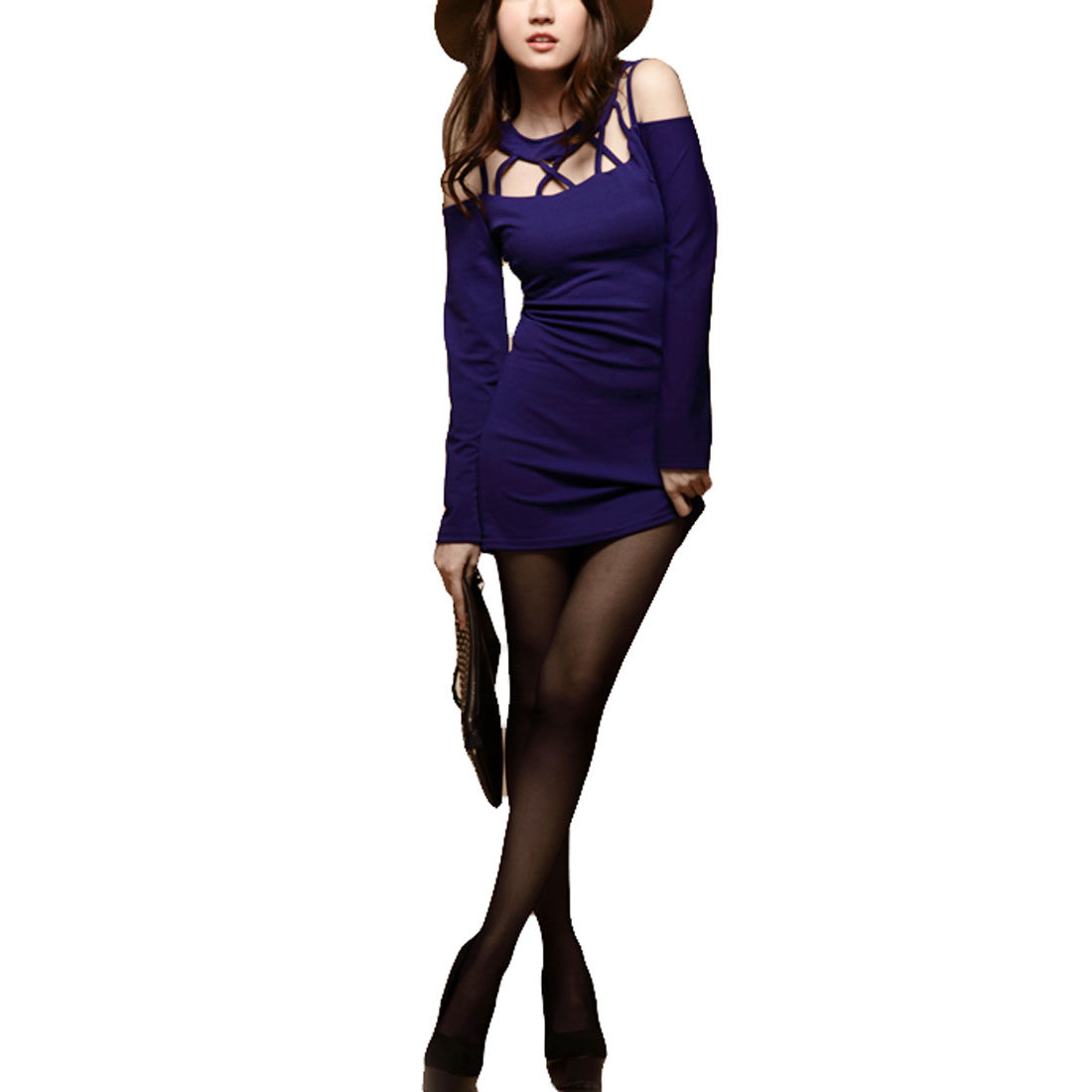 Purple Crossover Cut Out Back Closefitting Tunic Shirt XS for Woman