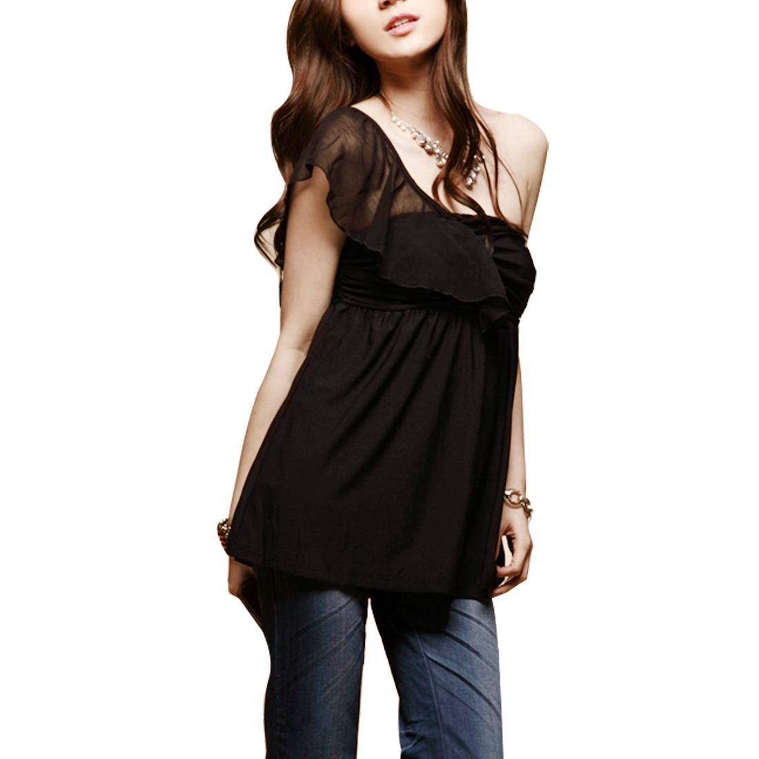 Ladies Summer Black Pullover Off Shoulder Smocked Bust Elastic Blouse XS