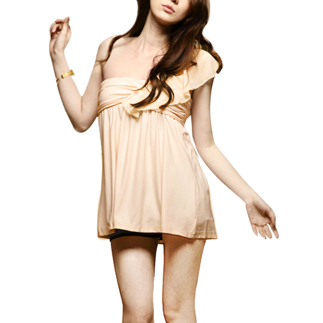Apricot Chiffon Flouced Slant Shoulder Ruffled Stretchy Blouse XS for Woman