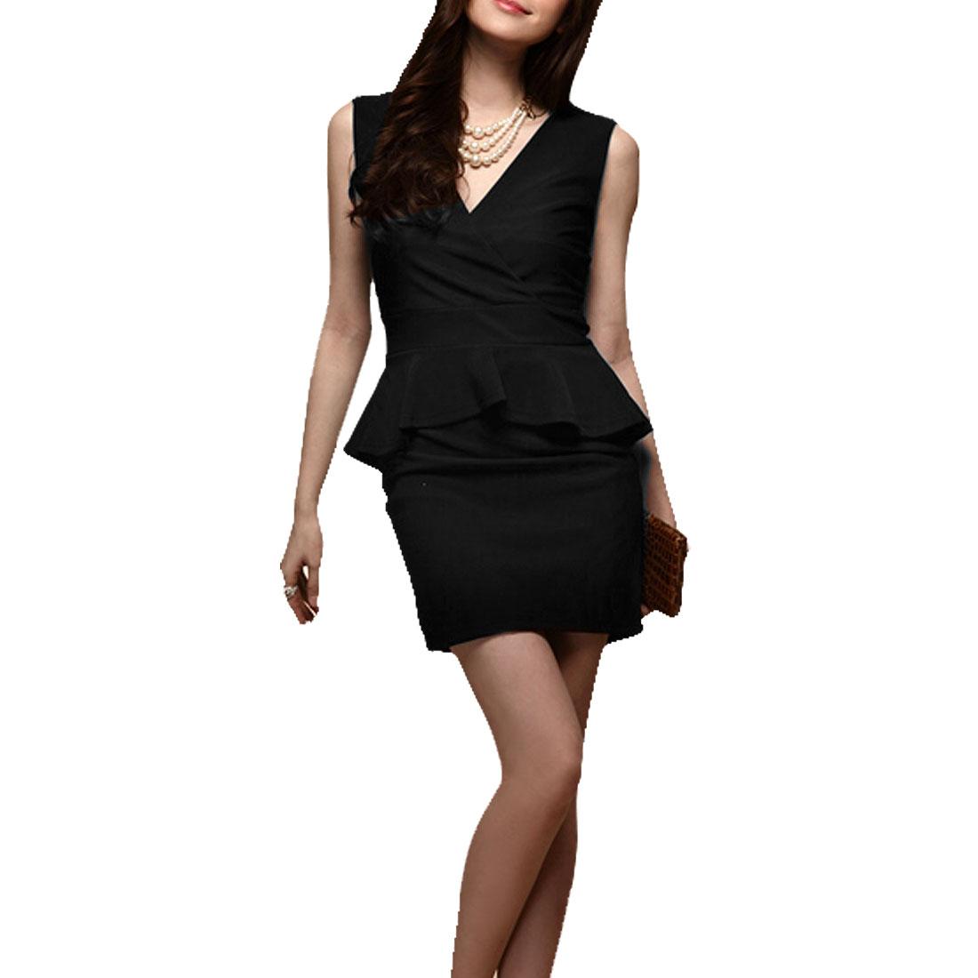 Ladies Sleeveless Pullover Crossover Collar Mini Tank Dress Black XS