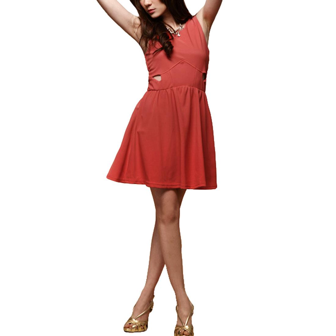 Ladies Sleeveless Low Round Neck Mini Tank Dress Orange Red XS