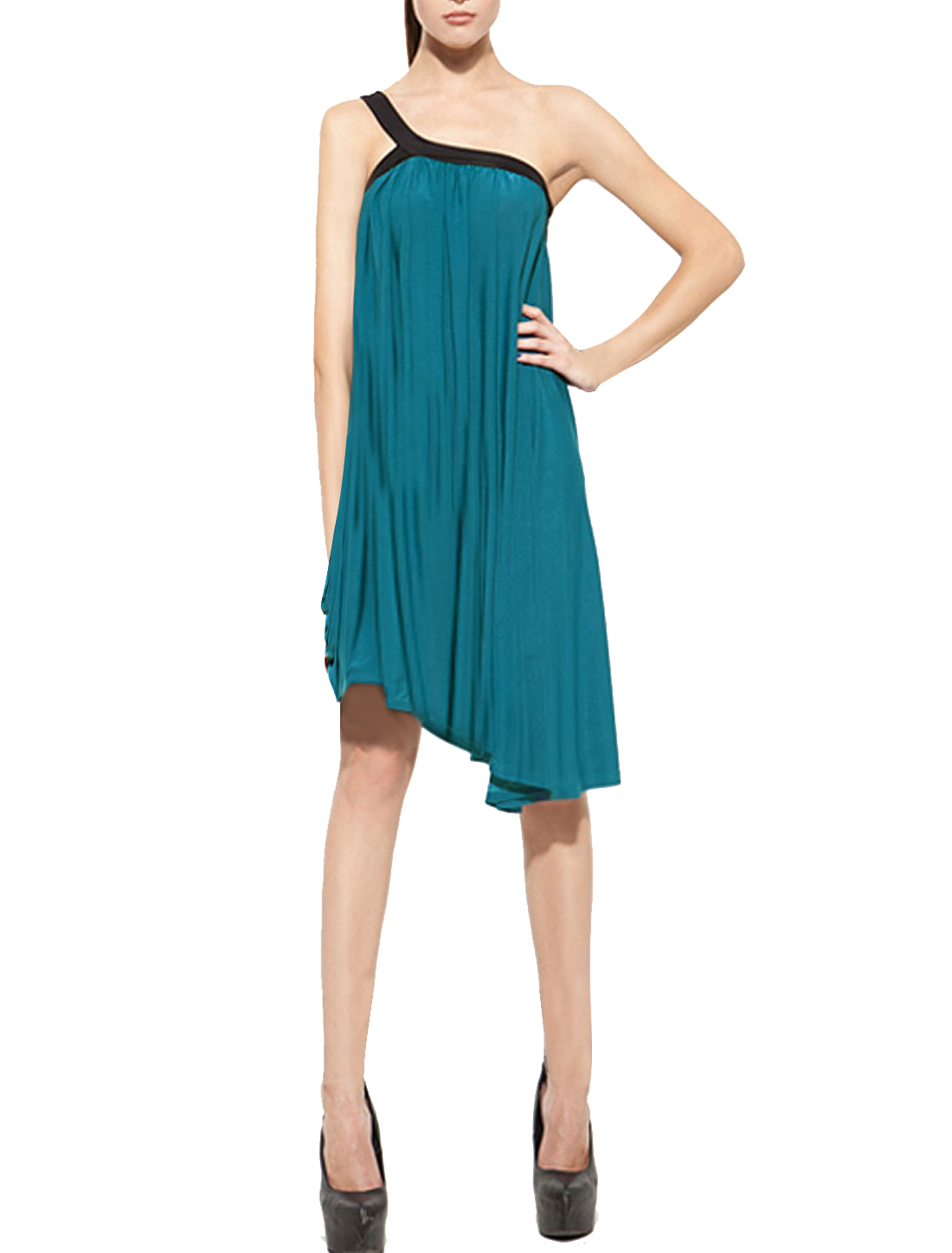 Woman Elegant Slant Shouler Pleated Irregular Hem Dress Teal Green XS