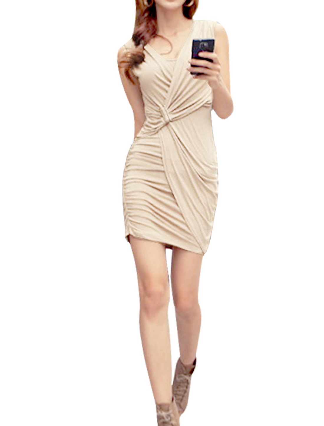 Women Sleeveless Pullover Low Round Neck Hip Hugging Mini Dress Beige XS