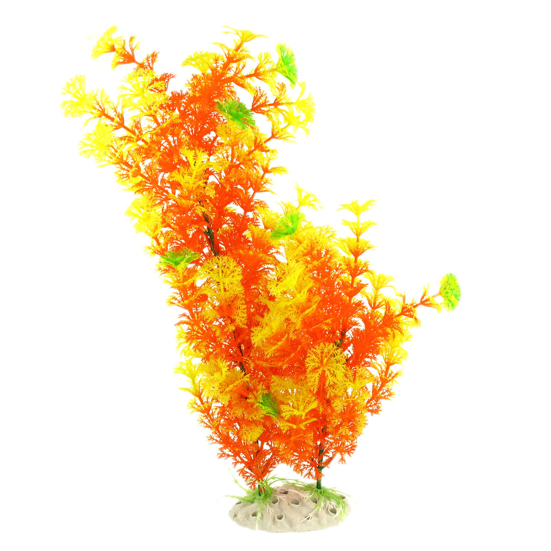 "15.7"" High Yellow Orange Plastic Water Plants for Fishbowl Tank Decoration Adorn"