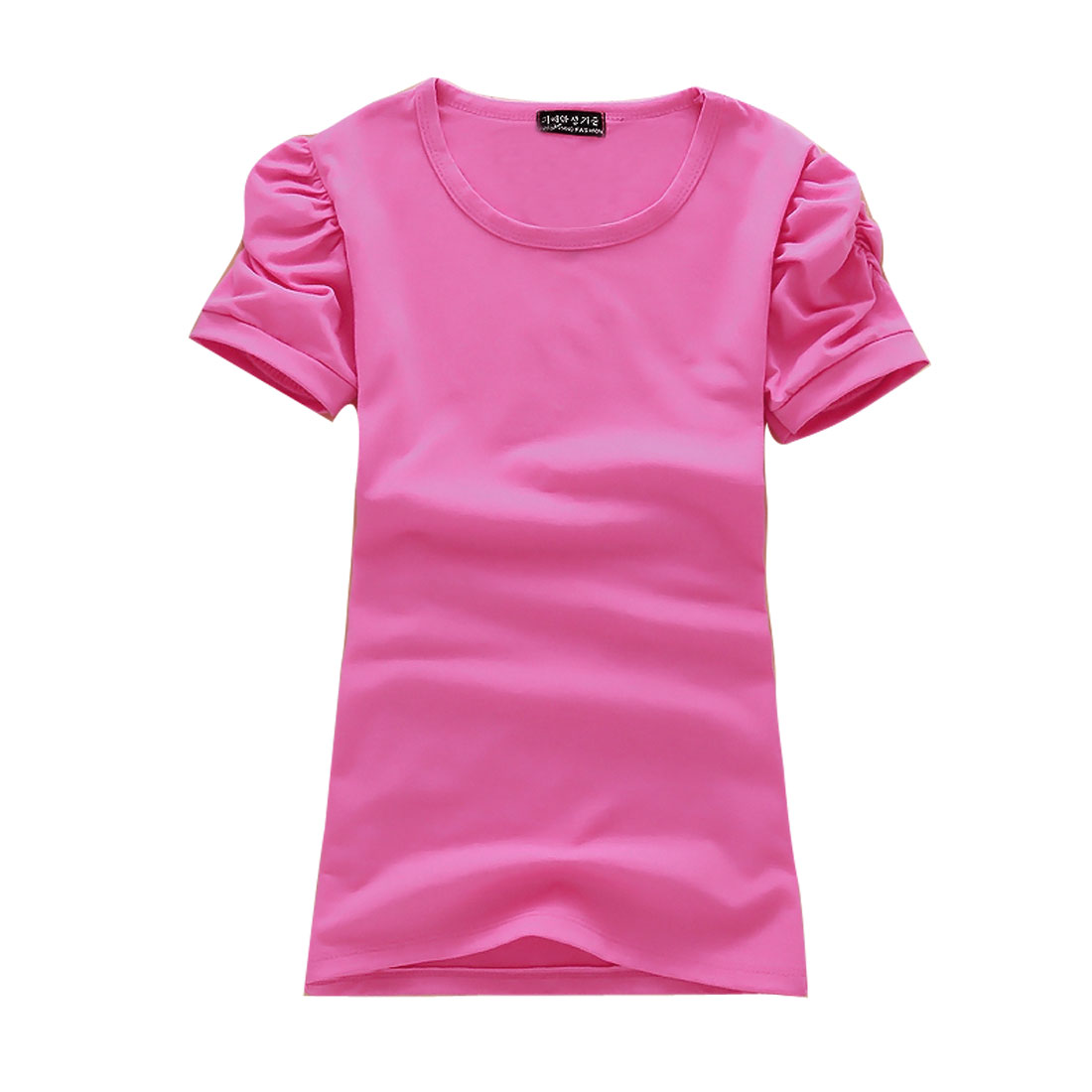 Women Leisure Korea Style Short Pleated Puff Sleeves T-Shirt Fuchsia XS