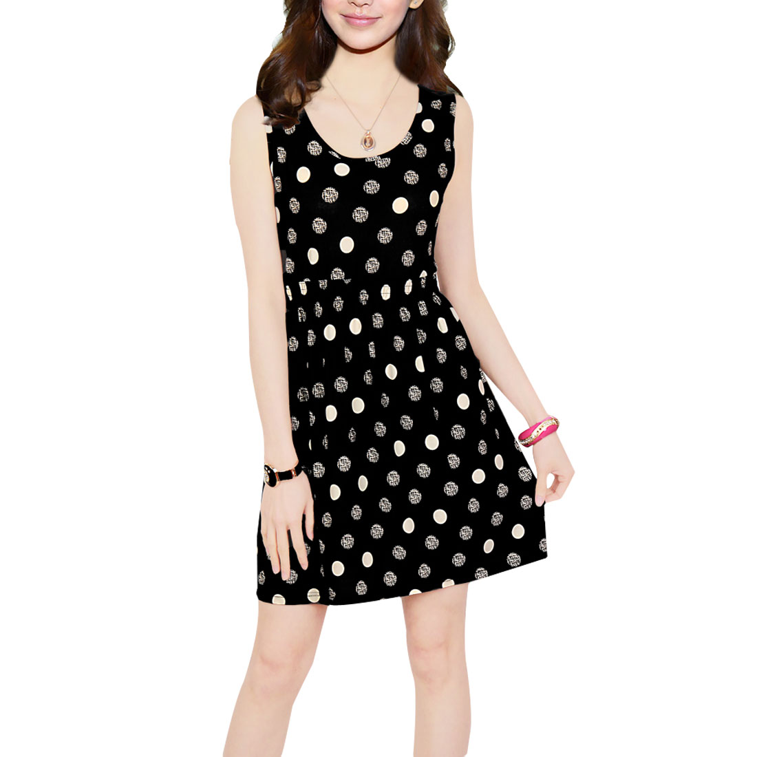 Woman XS Stretchy Waist White Dots Pattern Leisure Black Mini A Line Dress
