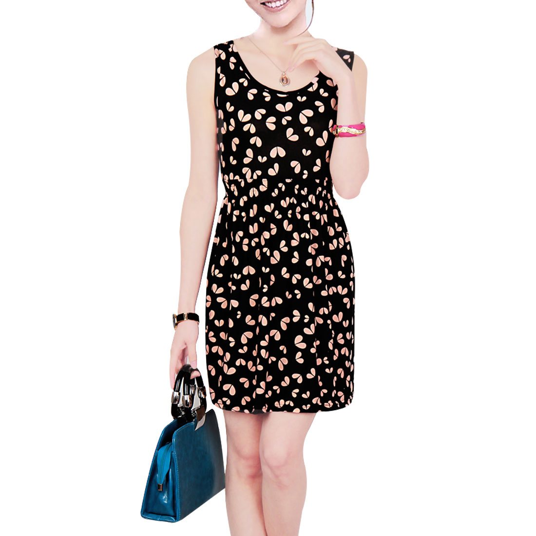 Woman XS Elastic Waist Pink Hearts Pattern Leisure Black Mini Tank Dress