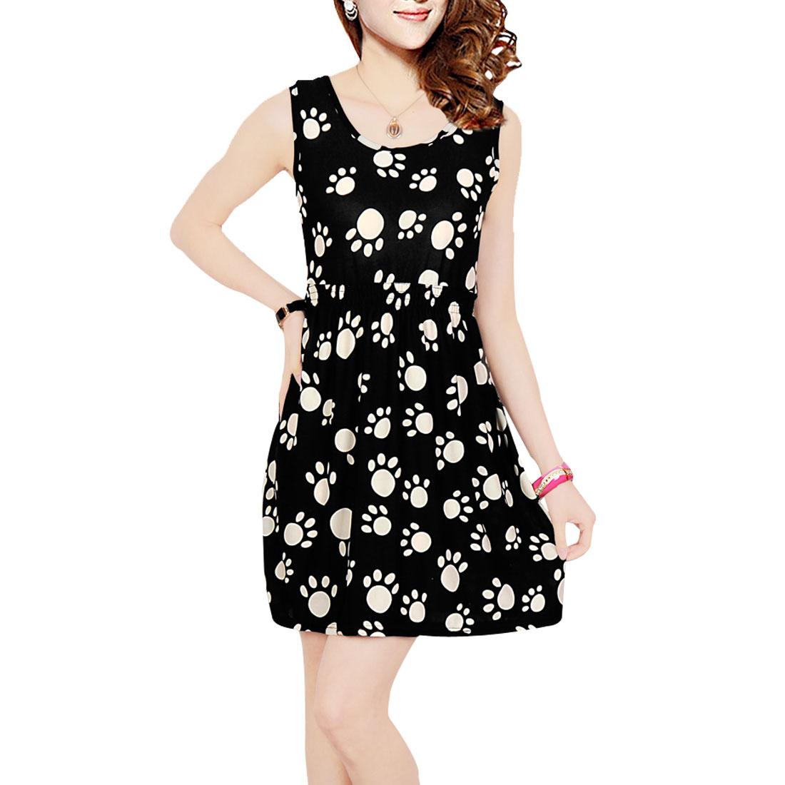 Ladies Low Round Neck White Dog Foot Print Black Mini A Line Dress XS