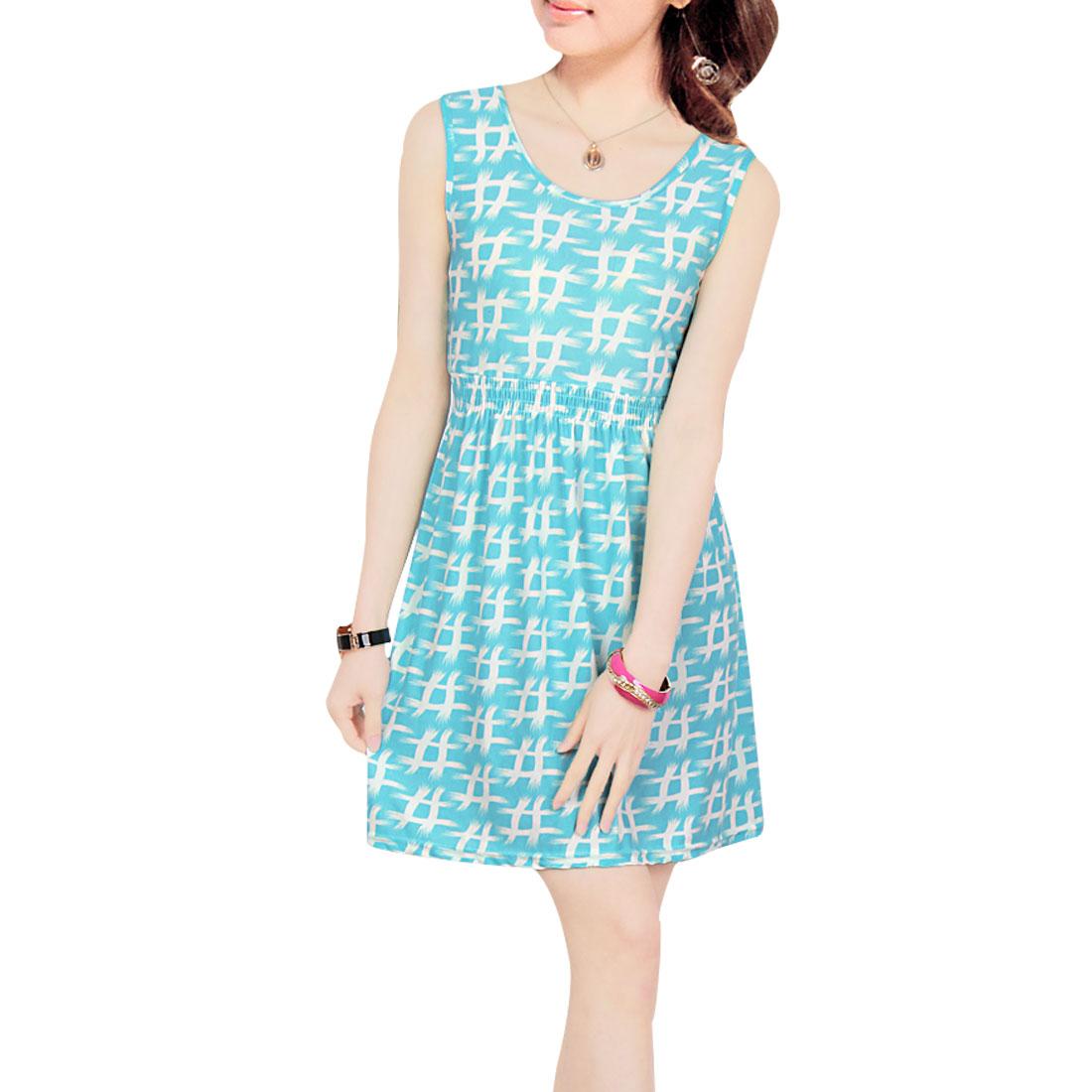 Woman XS Elastic Waist White Grids Pattern Leisure Blue Mini A Line Dress