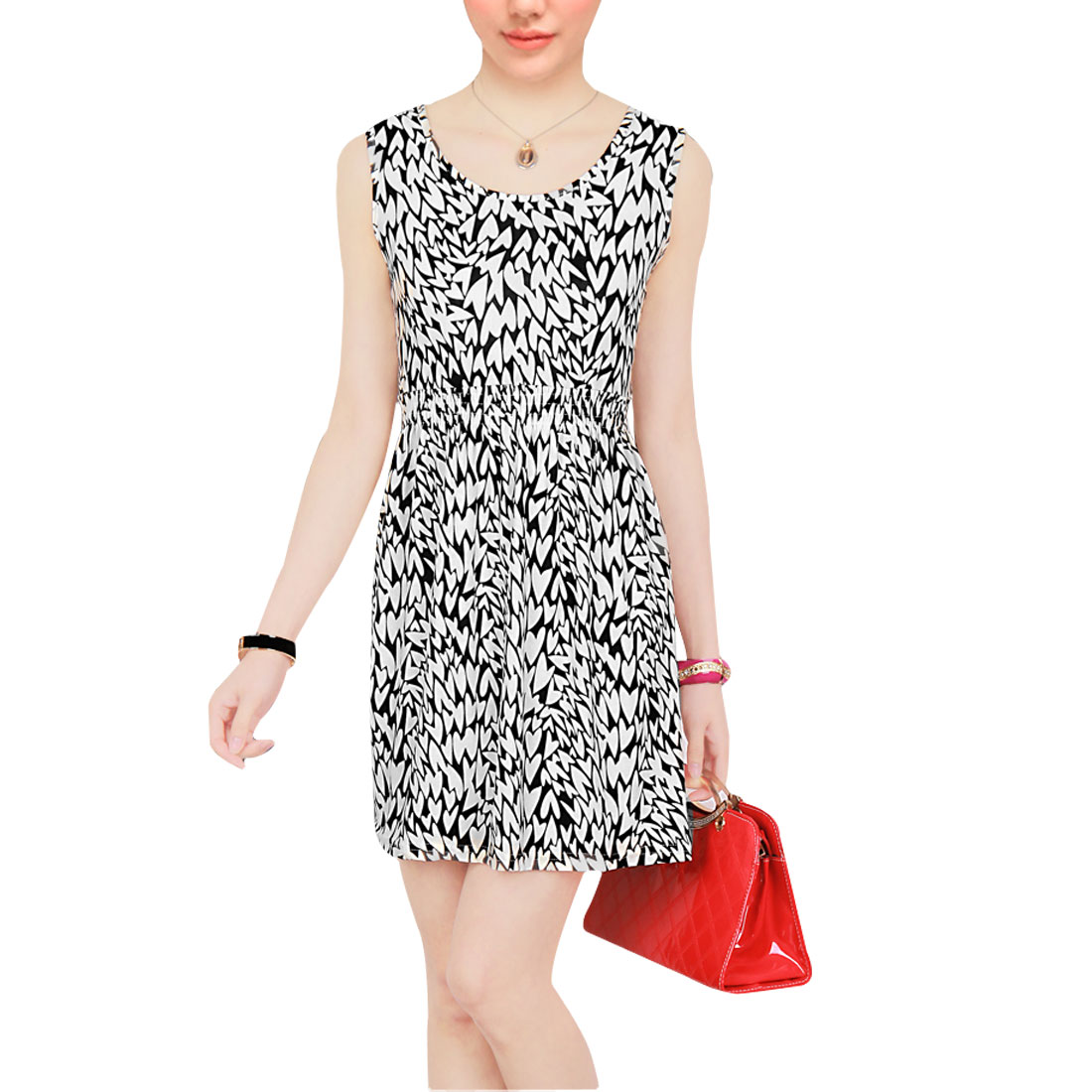 Summer Sleeveless Sheath Wasit Black White XS Mini A Line Dress for Ladies