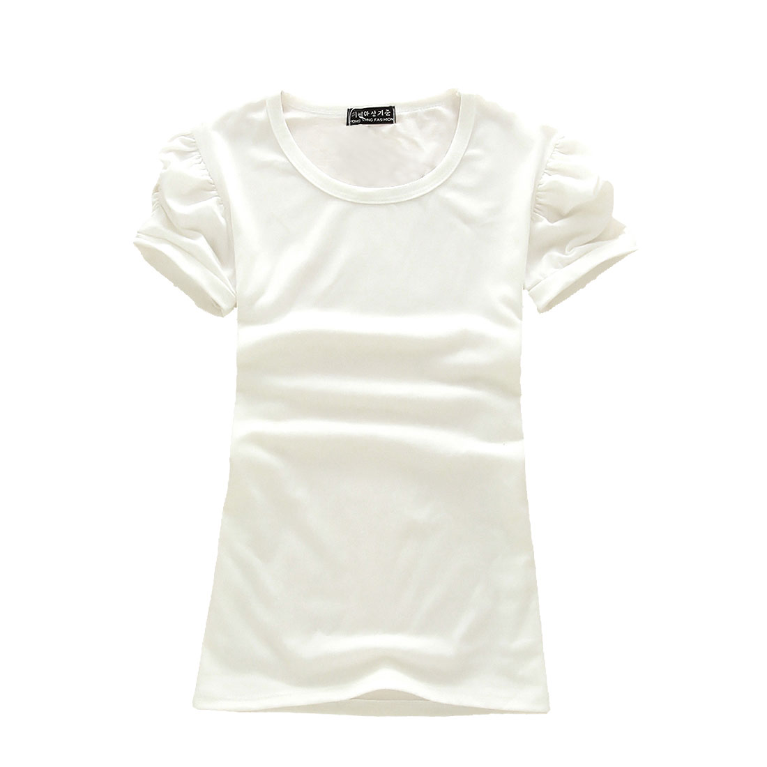 Short Ruffled Puff Sleeves Casual T-Shirt Blouse White XS for Ladies