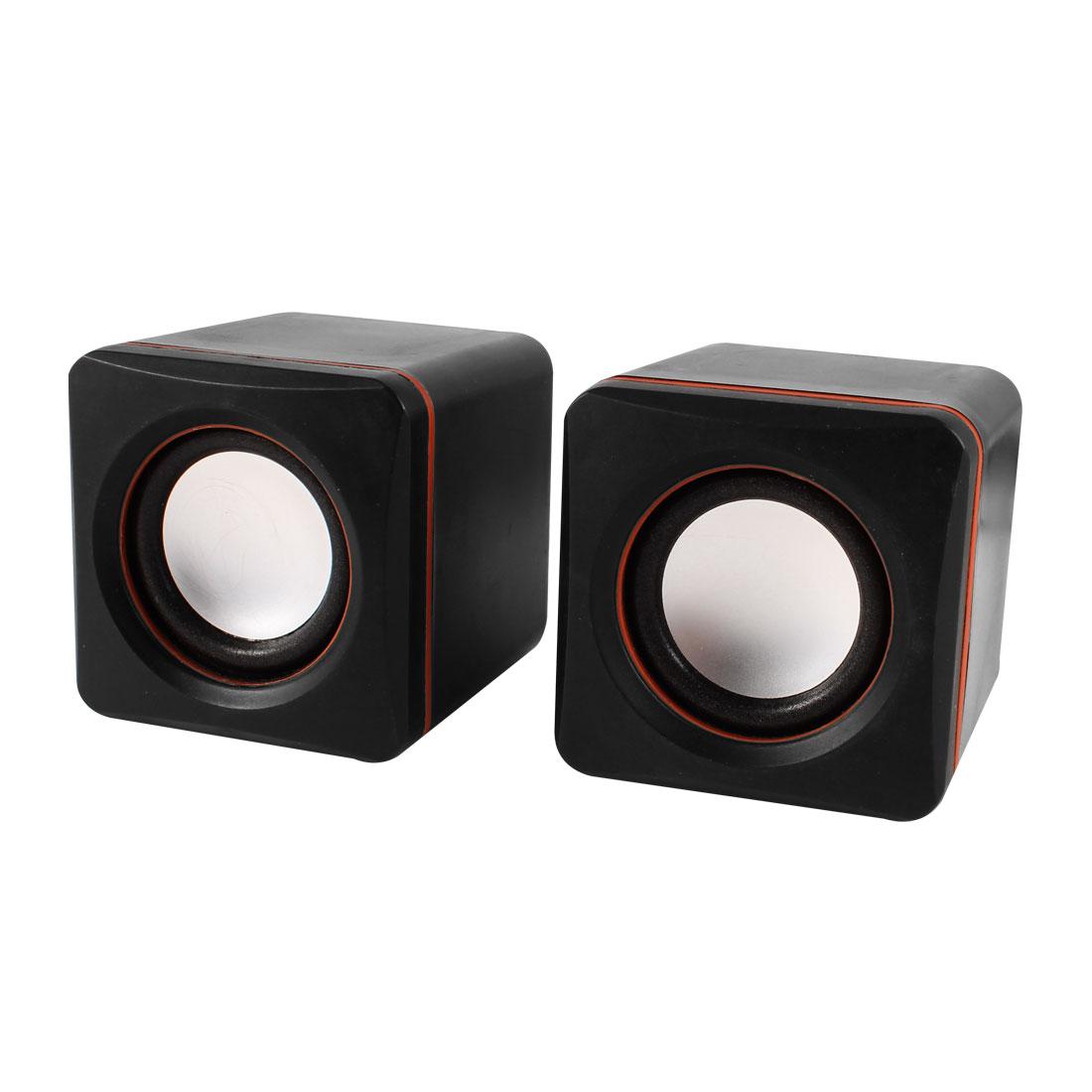 Pair Black Plastic Cube Design USB 2.0 3.5mm Stereo Mini Multimedia Speaker