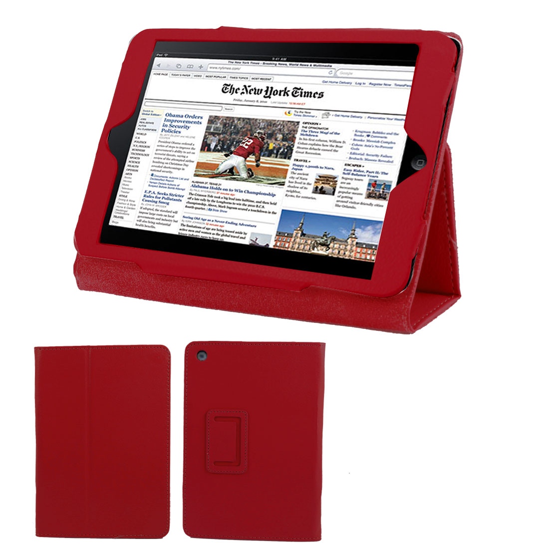 Red Faux Leather Folio Stand Case Cover Protector for iPad Mini