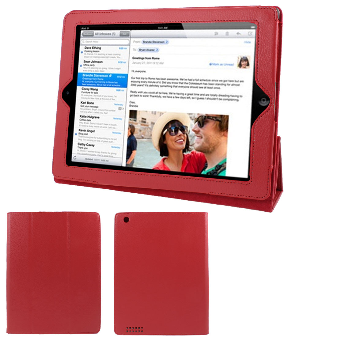 "Red Faux Leather Magnetic Folio Stand Case Cover for 9.7"" 10"" 10.1"" Tablet"