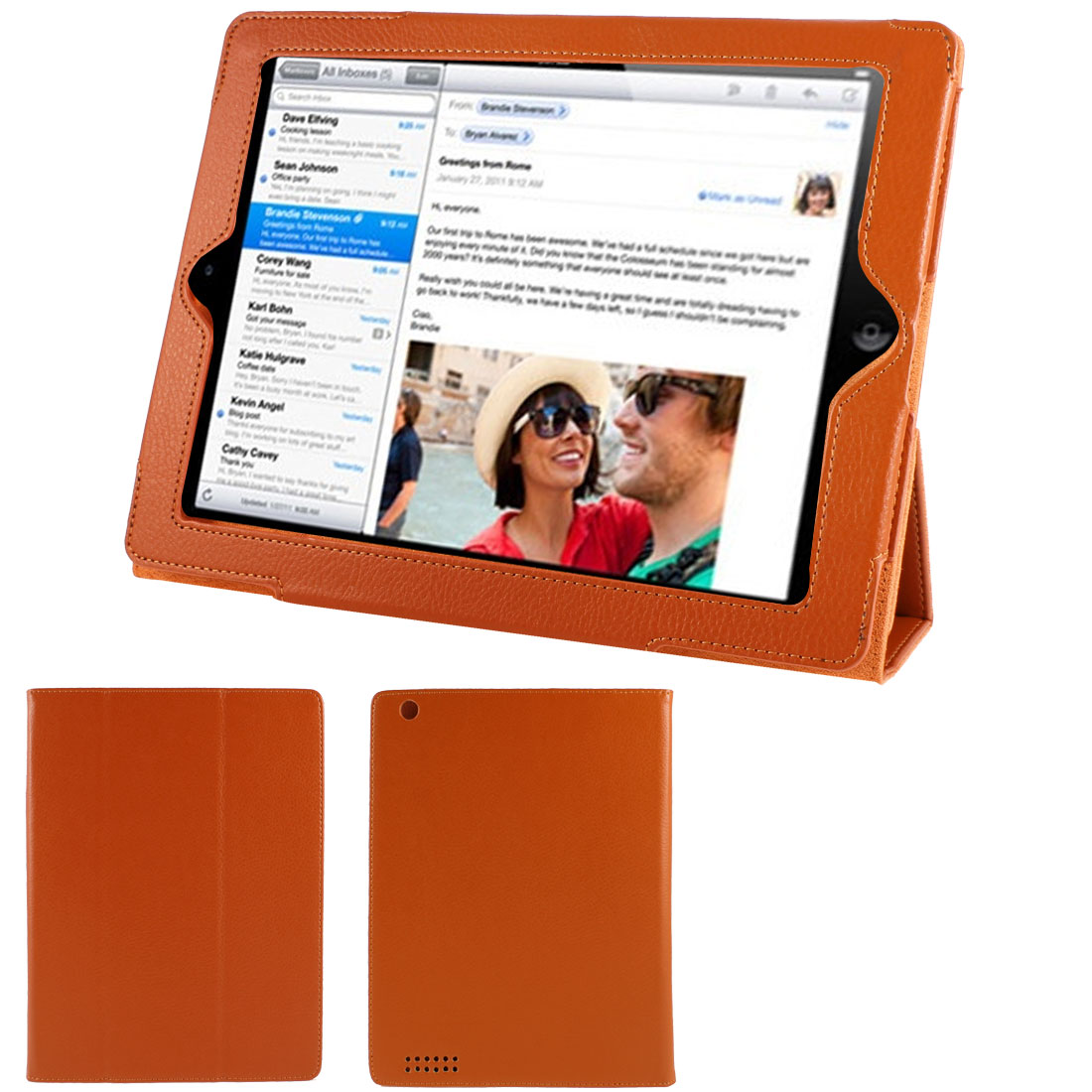"Orange Red Faux Leather Magnetic Stand Case Cover for 9.7"" 10"" 10.1"" Tablet PC"