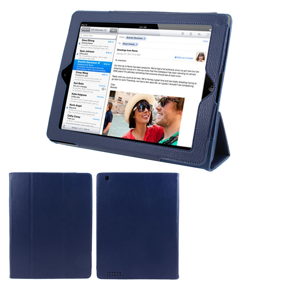 "Dark Blue Faux Leather Magnetic Folio Stand Case Cover for 9.7"" 10"" 10.1"" Tablet"