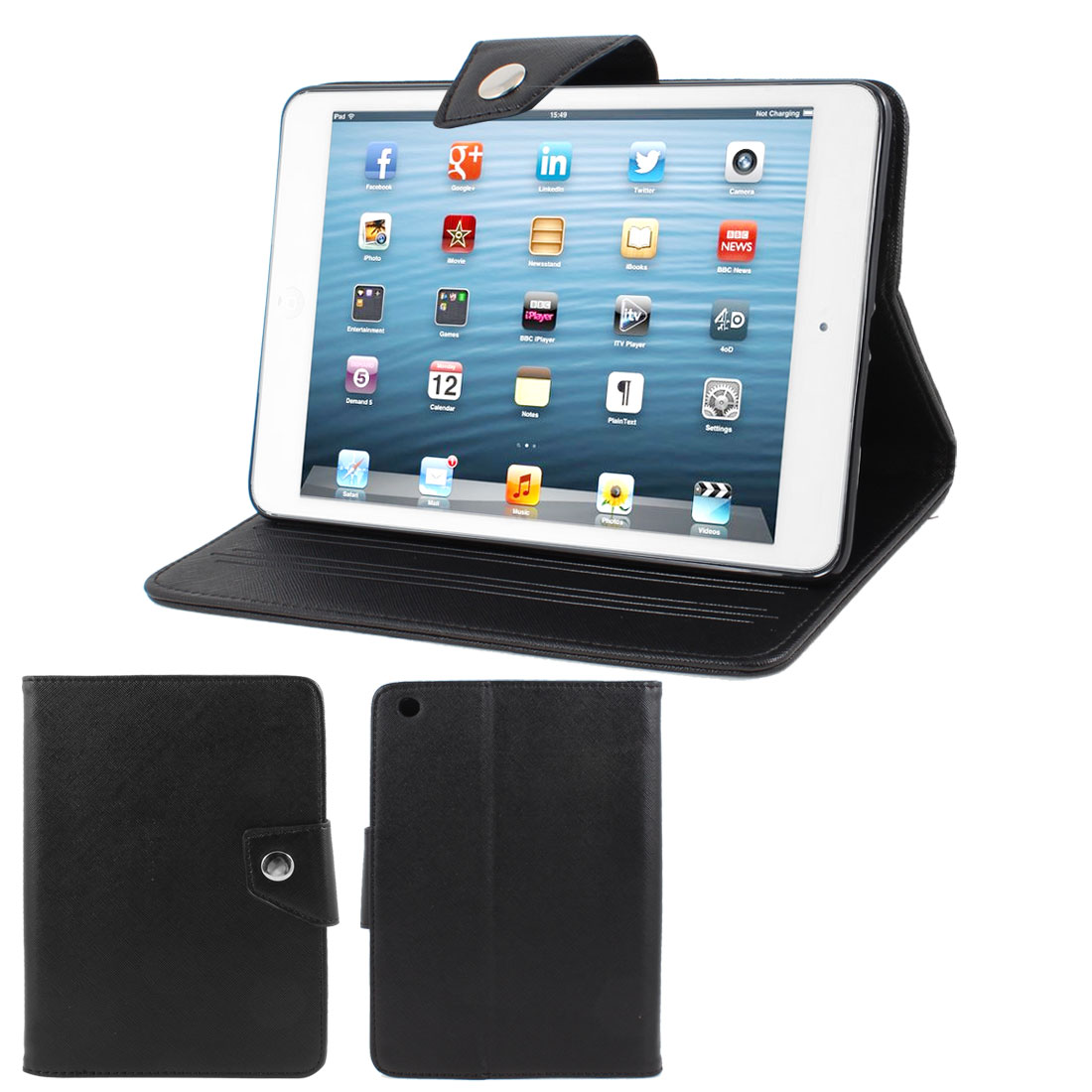 Black Soft Plastic Case Faux Leather Flip Stand Cover Protector for iPad Mini