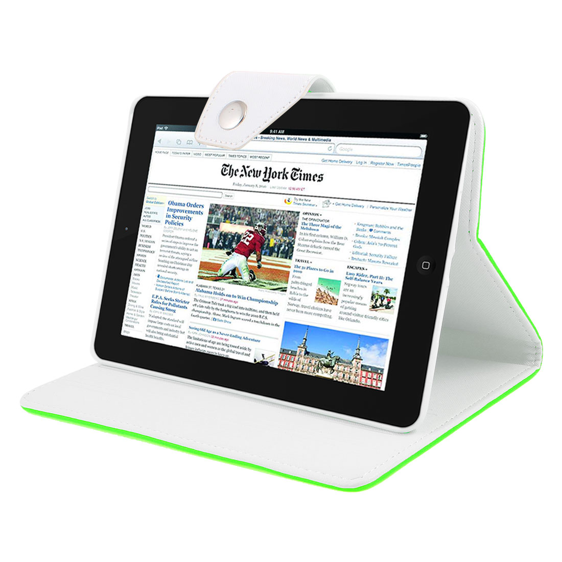 White Soft Plastic Case Lime Green Faux Leather Flip Stand Cover for iPad Mini