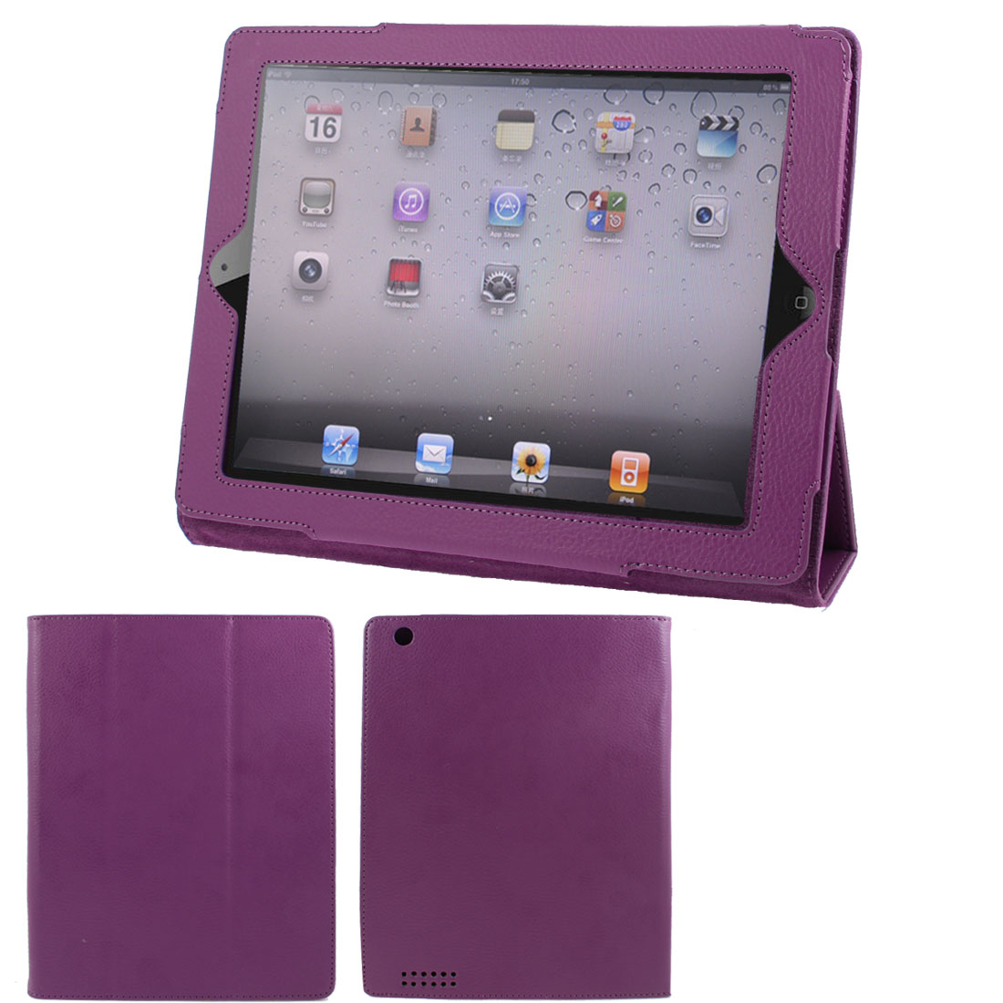 "Purple Faux Leather Magnetic Folio Stand Case Cover for 9.7"" 10"" 10.1"" Tablet"