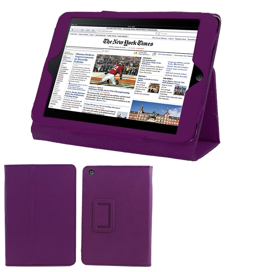 Purple Faux Leather Folio Stand Case Cover Protector for iPad Mini