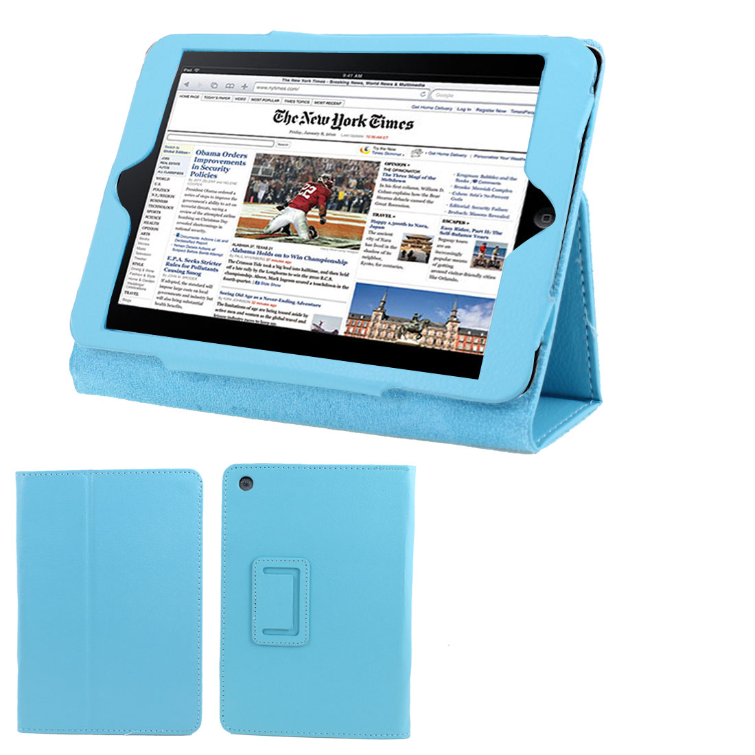 Light Blue Faux Leather Folio Stand Case Cover Protector for iPad Mini