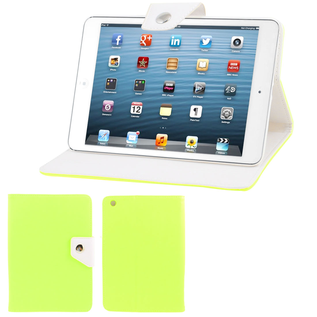 White Soft Plastic Case Yellow Green Faux Leather Flip Stand Cover for iPad Mini