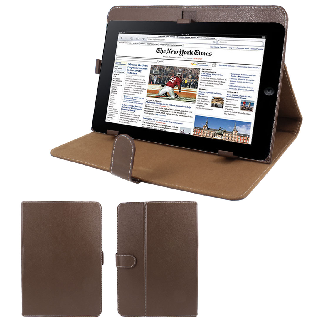 "Brown Faux Leather Folio Flip Stand Case Cover for 10"" Tablet PC"