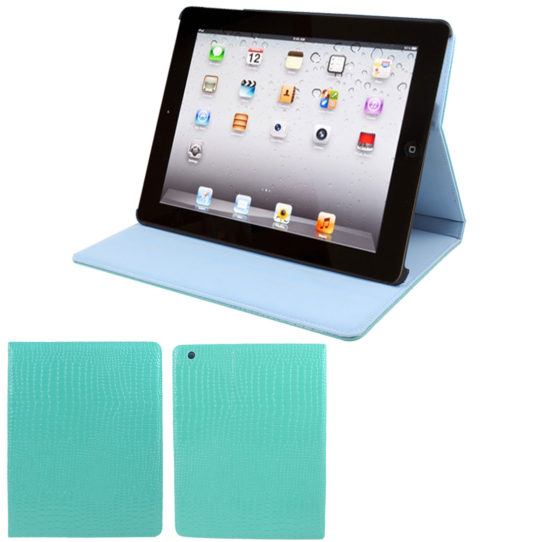 "Aqua Crocodile Pattern Faux Leather Folio Stand Case Cover for 9.7"" iPad 2 3 4"