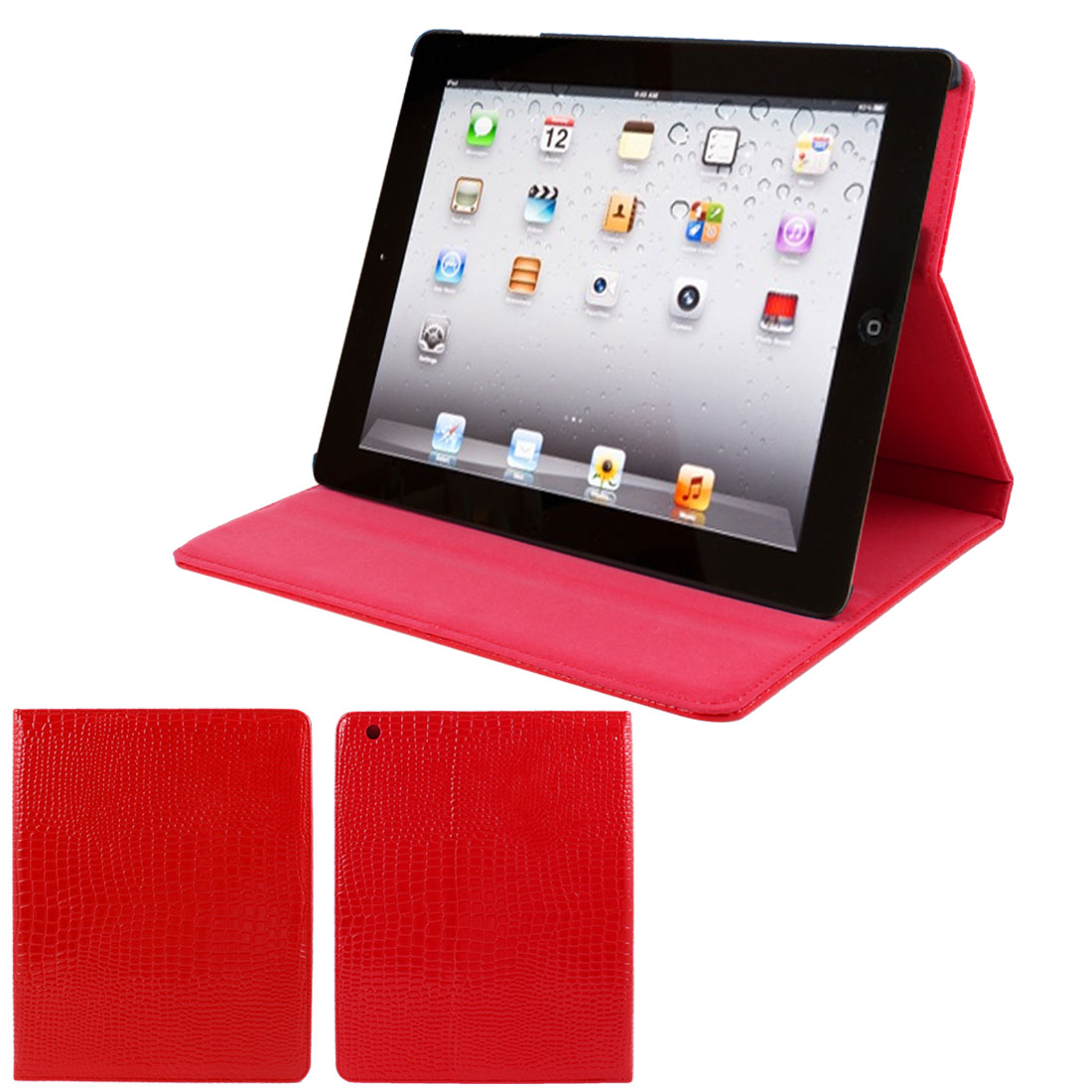 "Red Crocodile Pattern Faux Leather Folio Stand Case Cover for 9.7"" iPad 2 3 4"