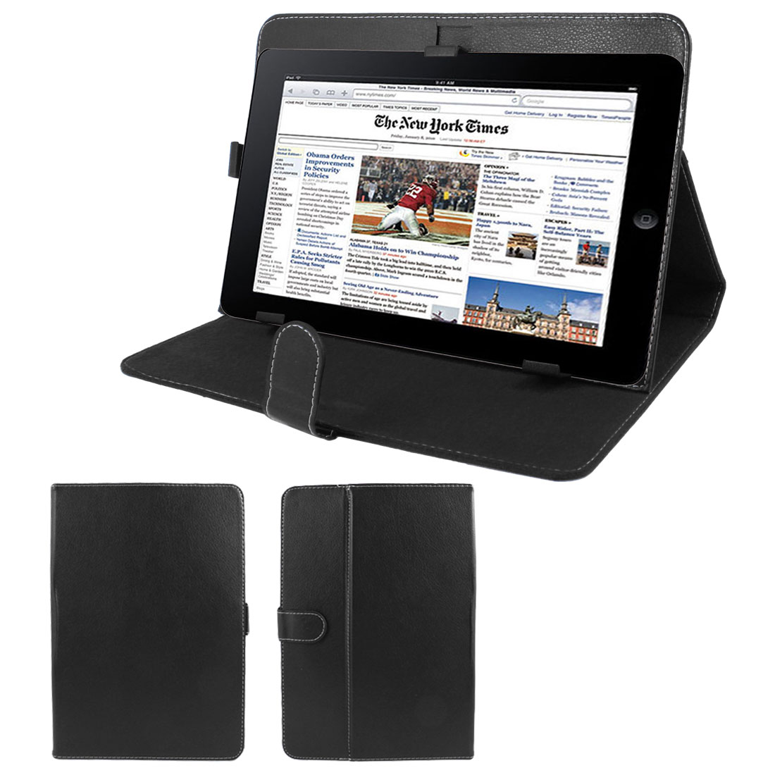 "Black Faux Leather Folio Flip Stand Case Cover for 10"" Tablet PC"