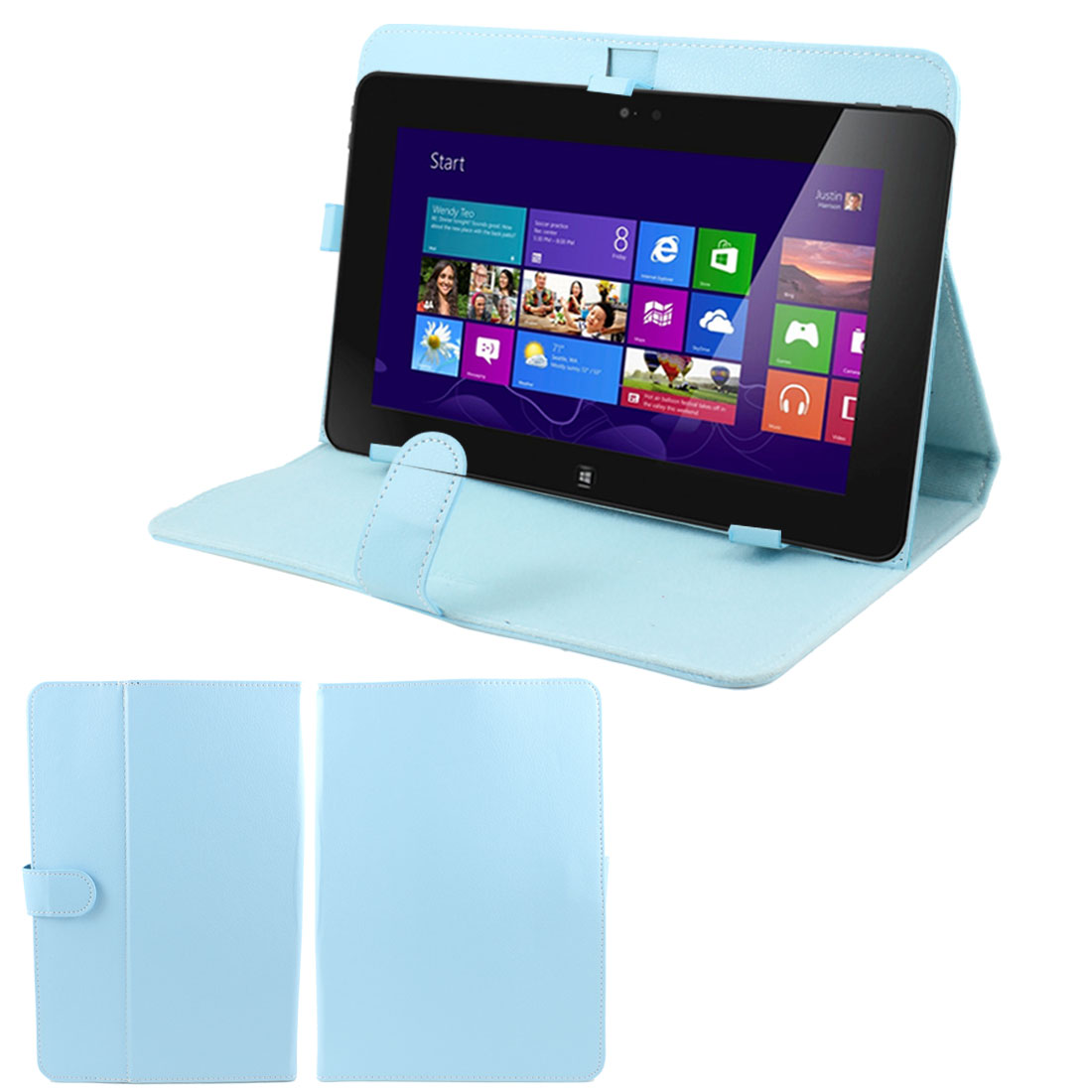 "Light Blue Faux Leather Folio Flip Stand Case Cover for 10"" Tablet PC"