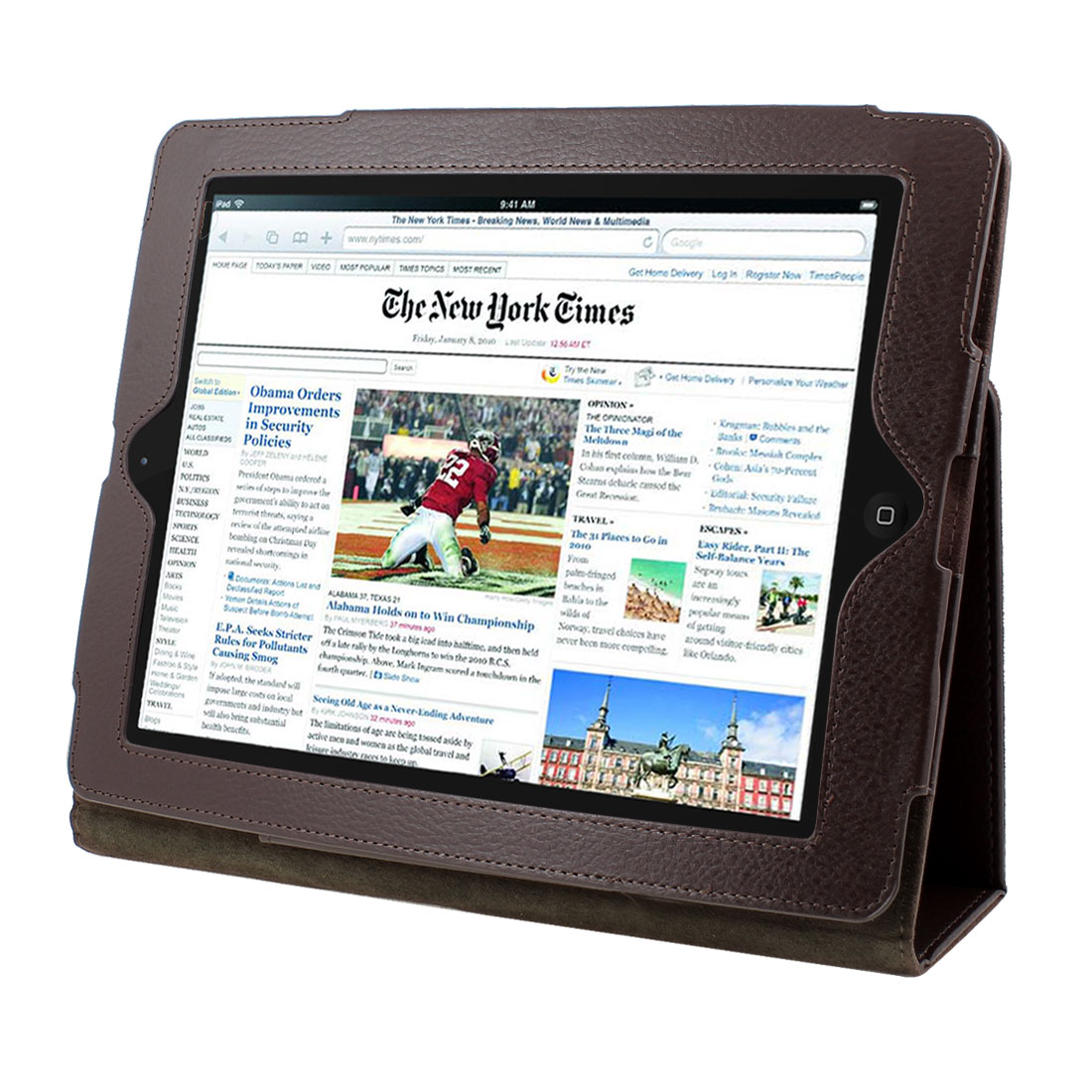 "Dark Brown Faux Leather Magnetic Folio Stand Case Cover for 9.7"" 10"" 10.1"" Tablet"