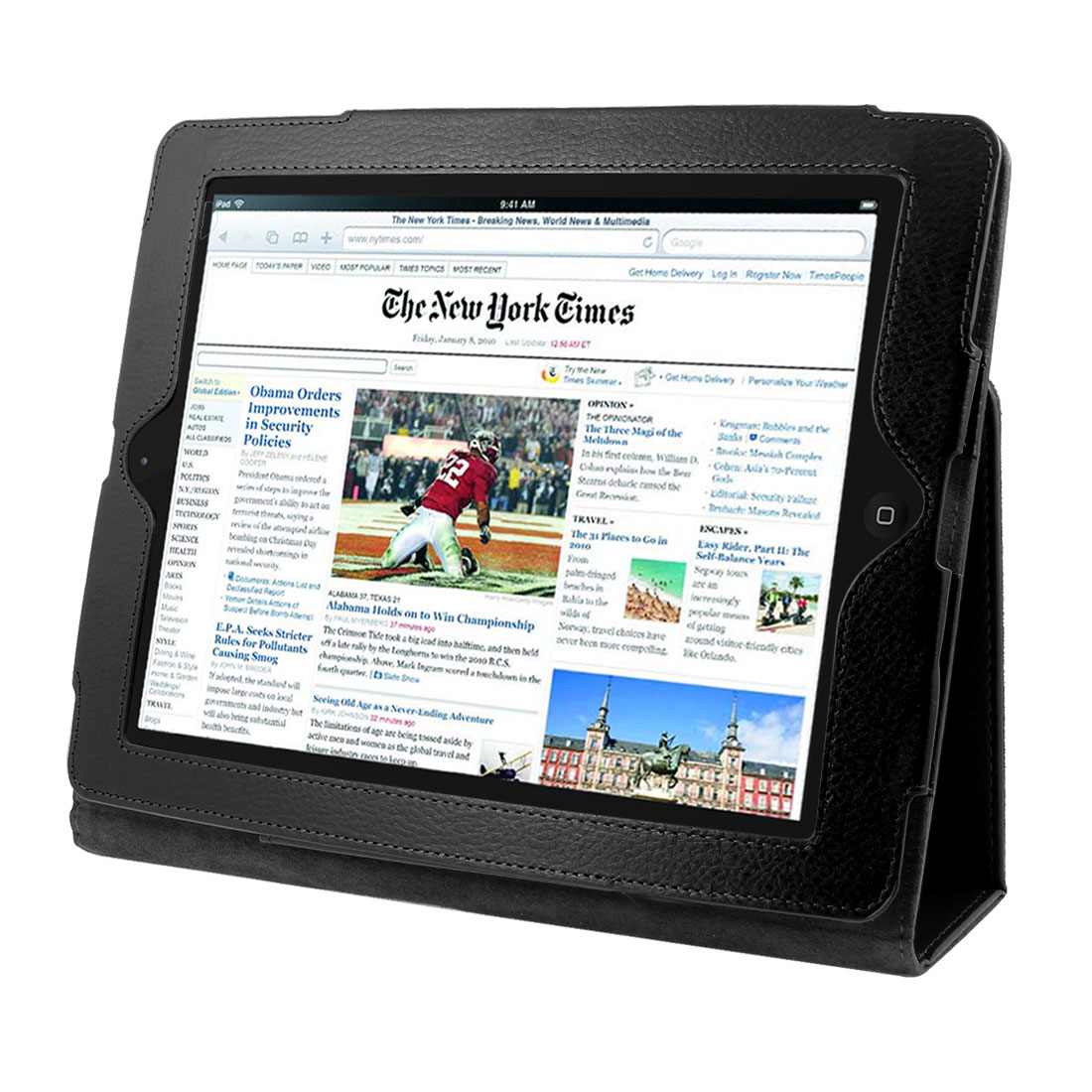 "Black Faux Leather Magnetic Folio Stand Case Cover for 9.7"" 10"" Tablets"