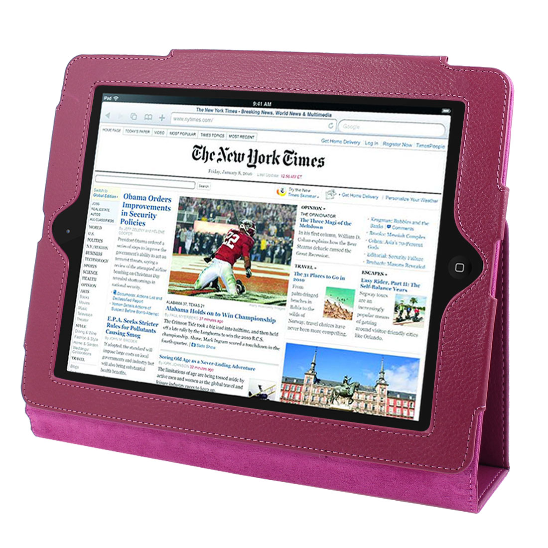 "Fuchsia Faux Leather Magnetic Folio Stand Case Cover for 9.7"" 10"" Tablets"
