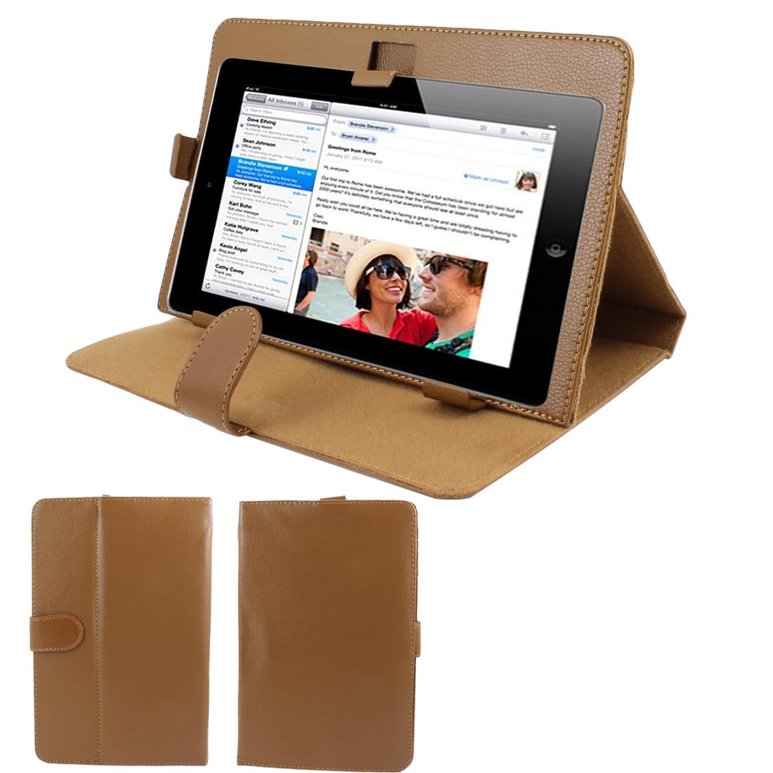 "Brown Stitched Faux Leather Magnetic Flip Stand Case Cover for 9"" Tablet"