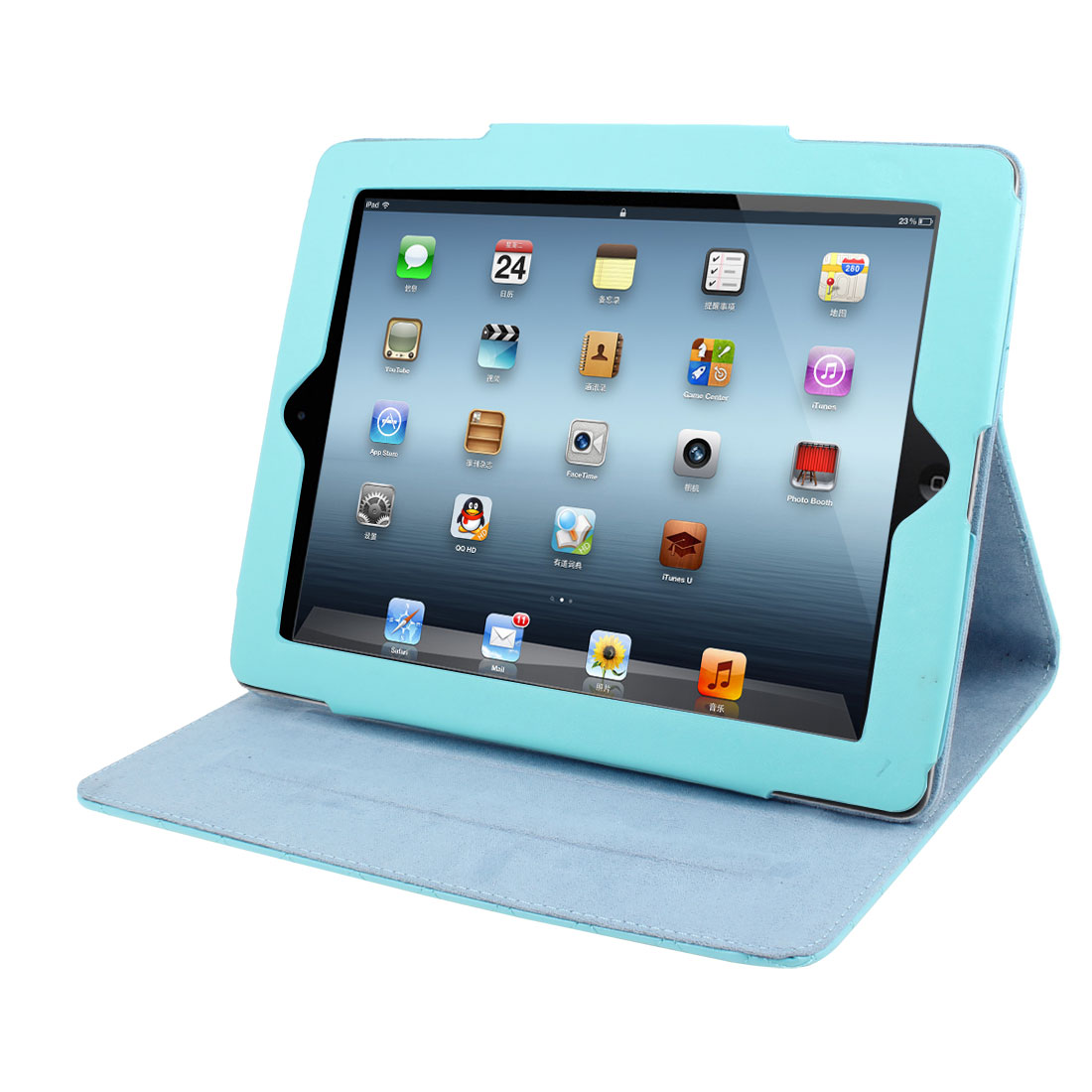 "Baby Blue Argyle Pattern Faux Leather Magnetic Stand Case Cover for 9.7"" iPad 2 3 4"