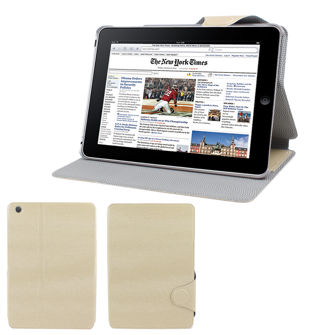 Khaki Faux Leather Flip Stand Case Cover Protector for Apple iPad Mini