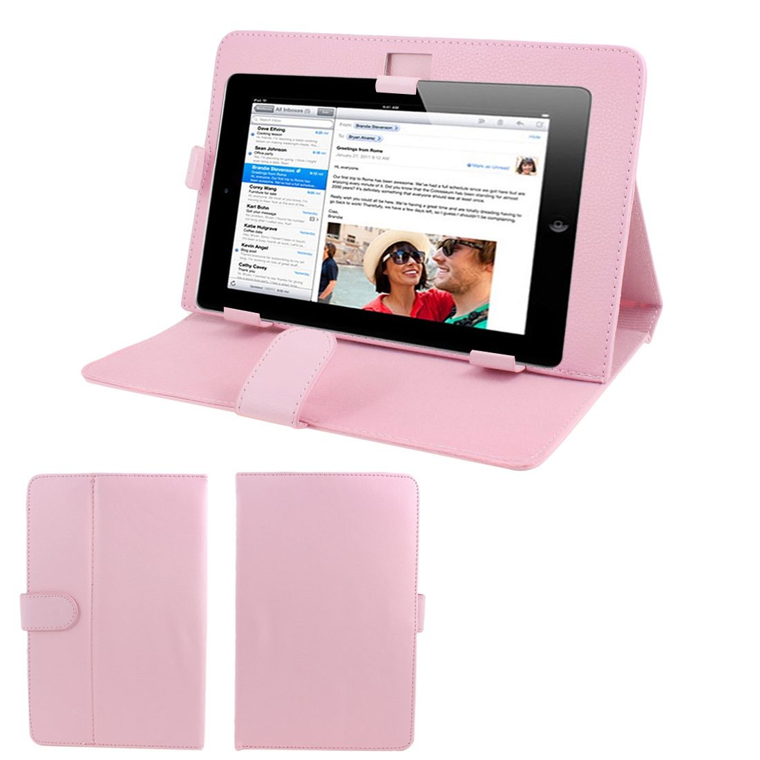 """Light Pink Stitched Faux Leather Magnetic Flip Stand Case Cover for 9"""" Tablet"""
