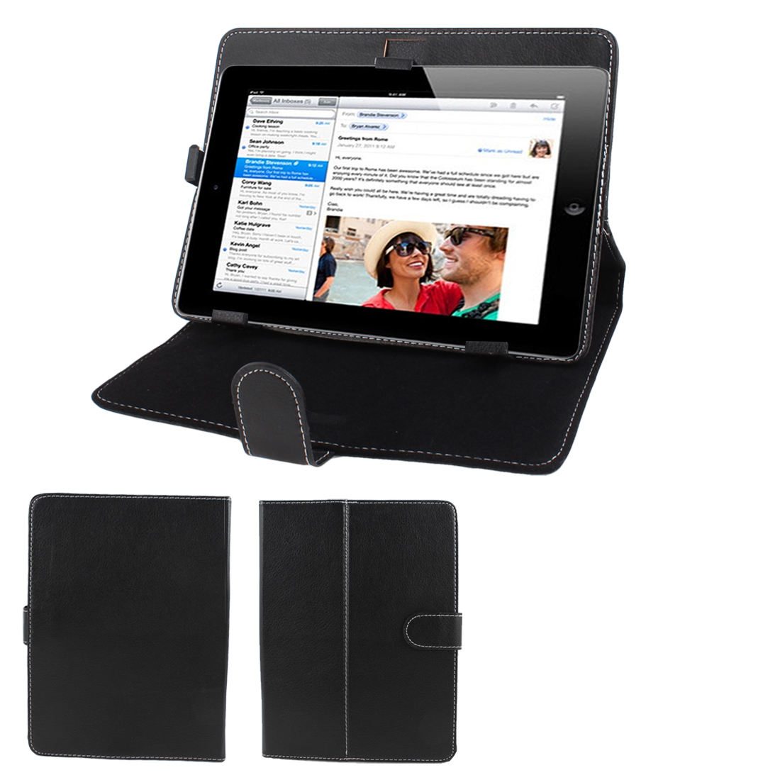 "Black Stitched Faux Leather Magnetic Stand Case Cover for 8"" Tablet PC"