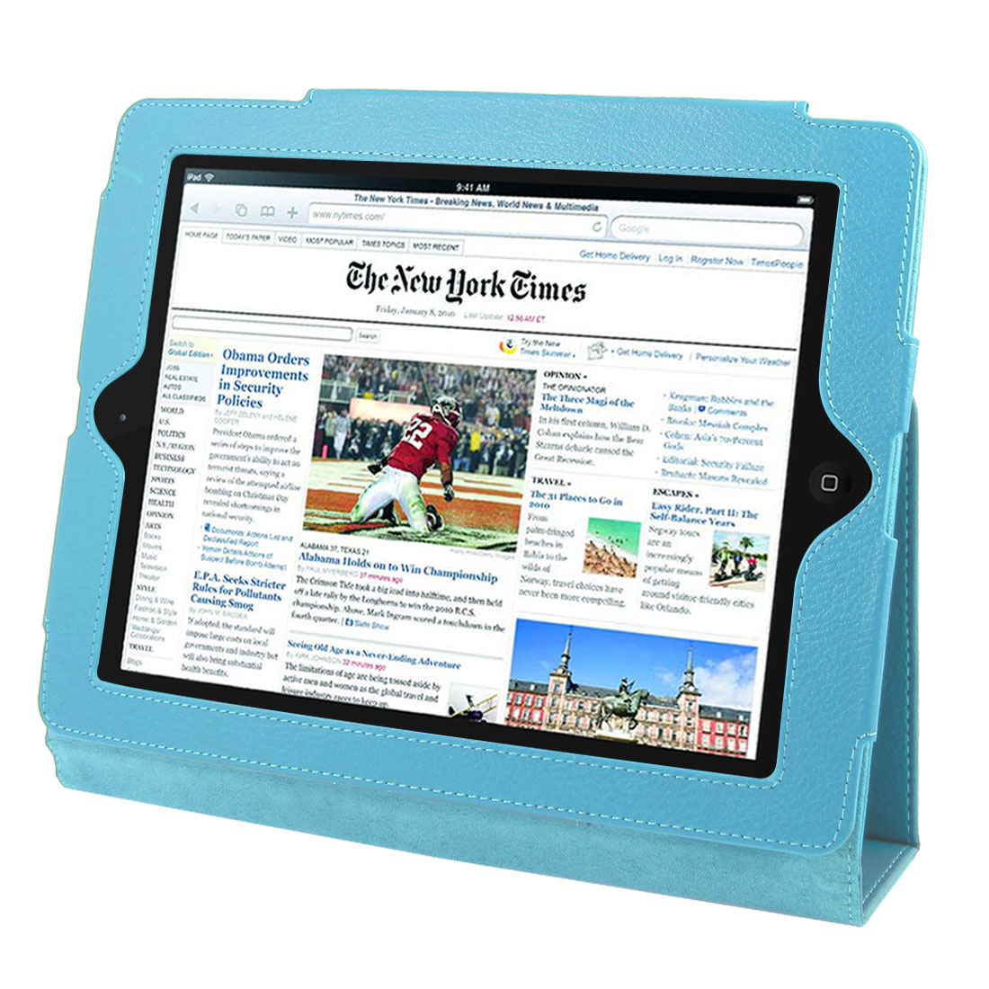 "Light Blue Faux Leather Magnetic Folio Stand Case Cover for 9.7"" 10"" Tablets"