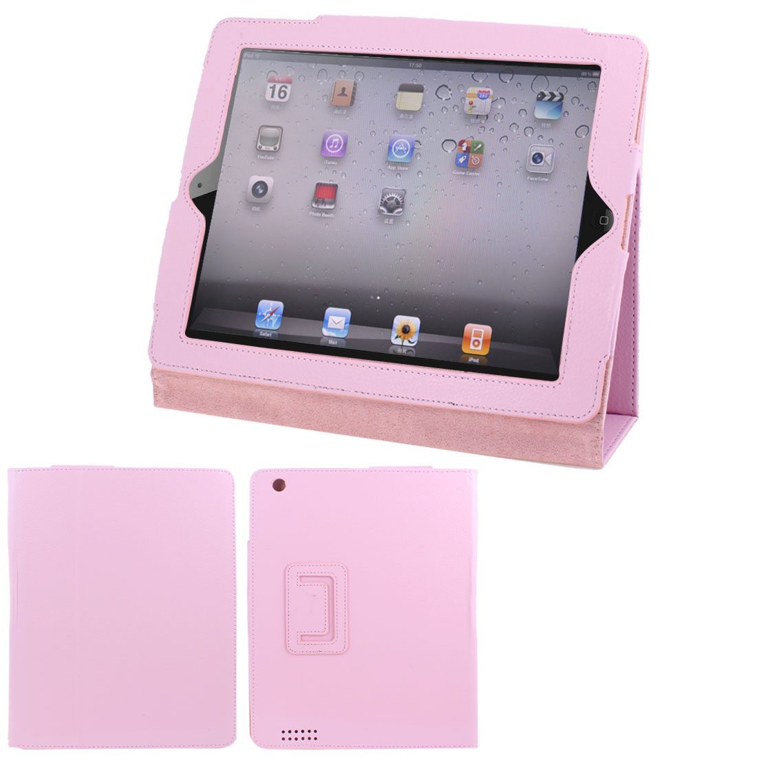 "Light Pink Faux Leather Magnetic Folio Stand Case Cover for 9.7"" 10"" Tablets"
