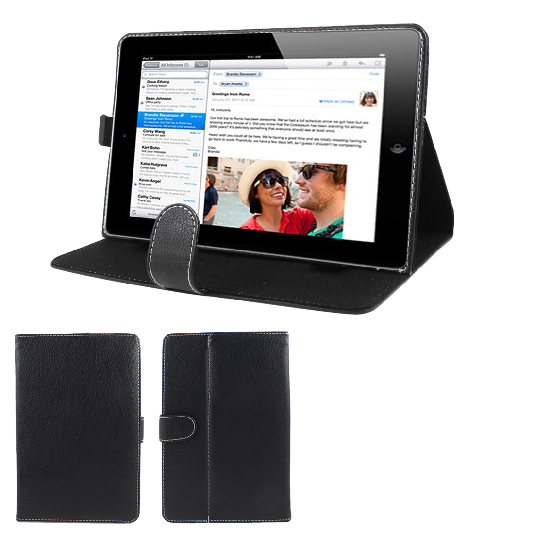 "Black Stitched Faux Leather Magnetic Flip Stand Case Cover for 9"" Tablet"