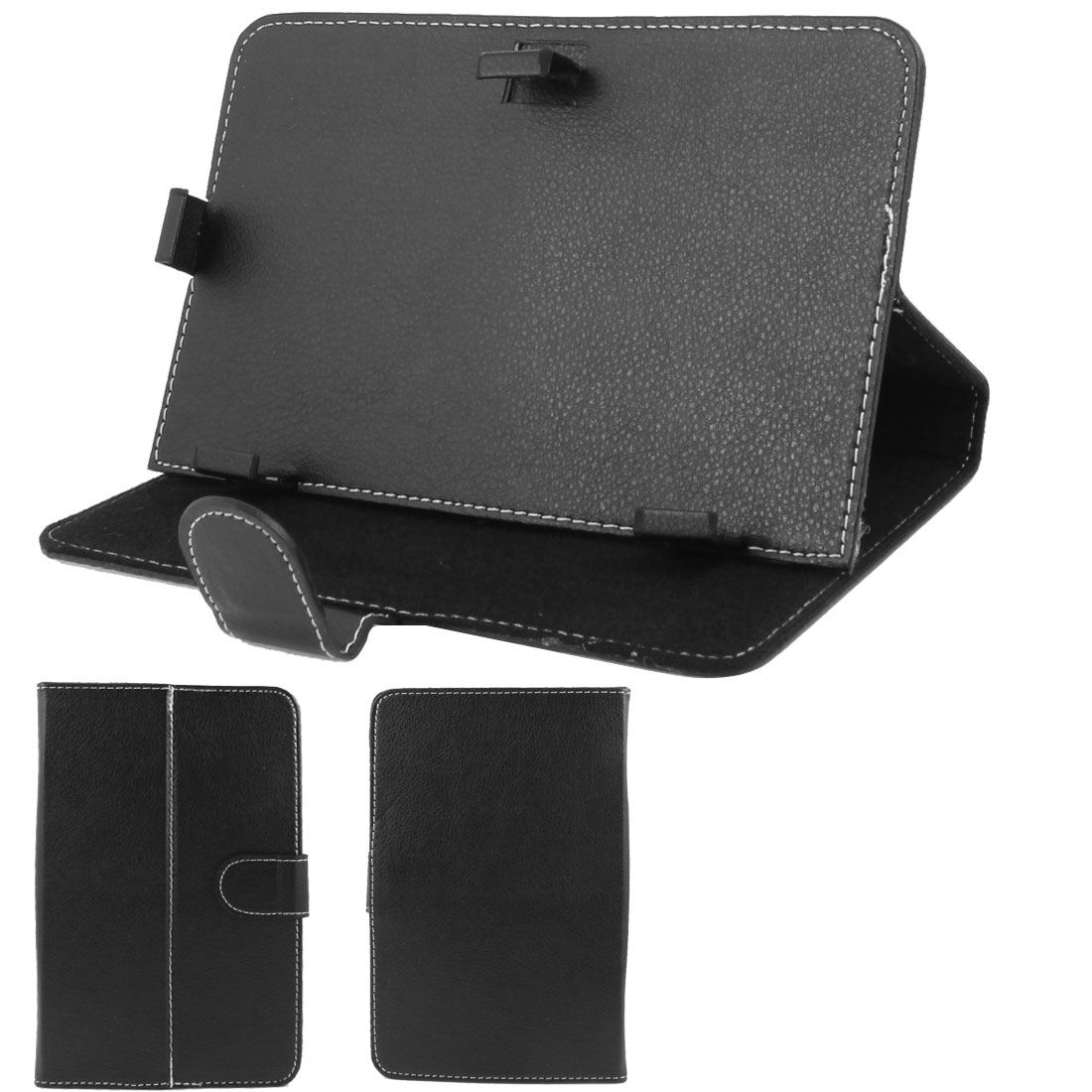 "Black Stitched Faux Leather Magnetic Flip Stand Case Cover for 7"" Tablet PC"